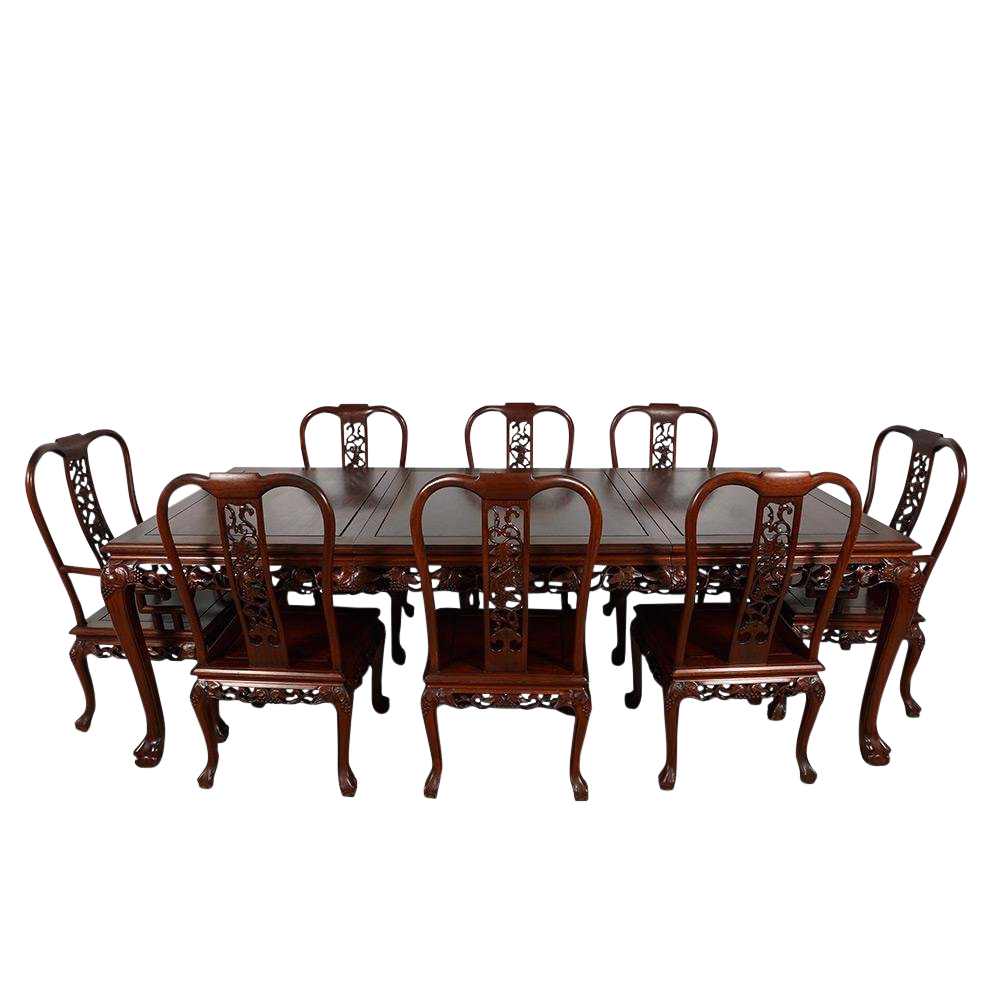 Vintage chinese carved rosewood dining set chairish