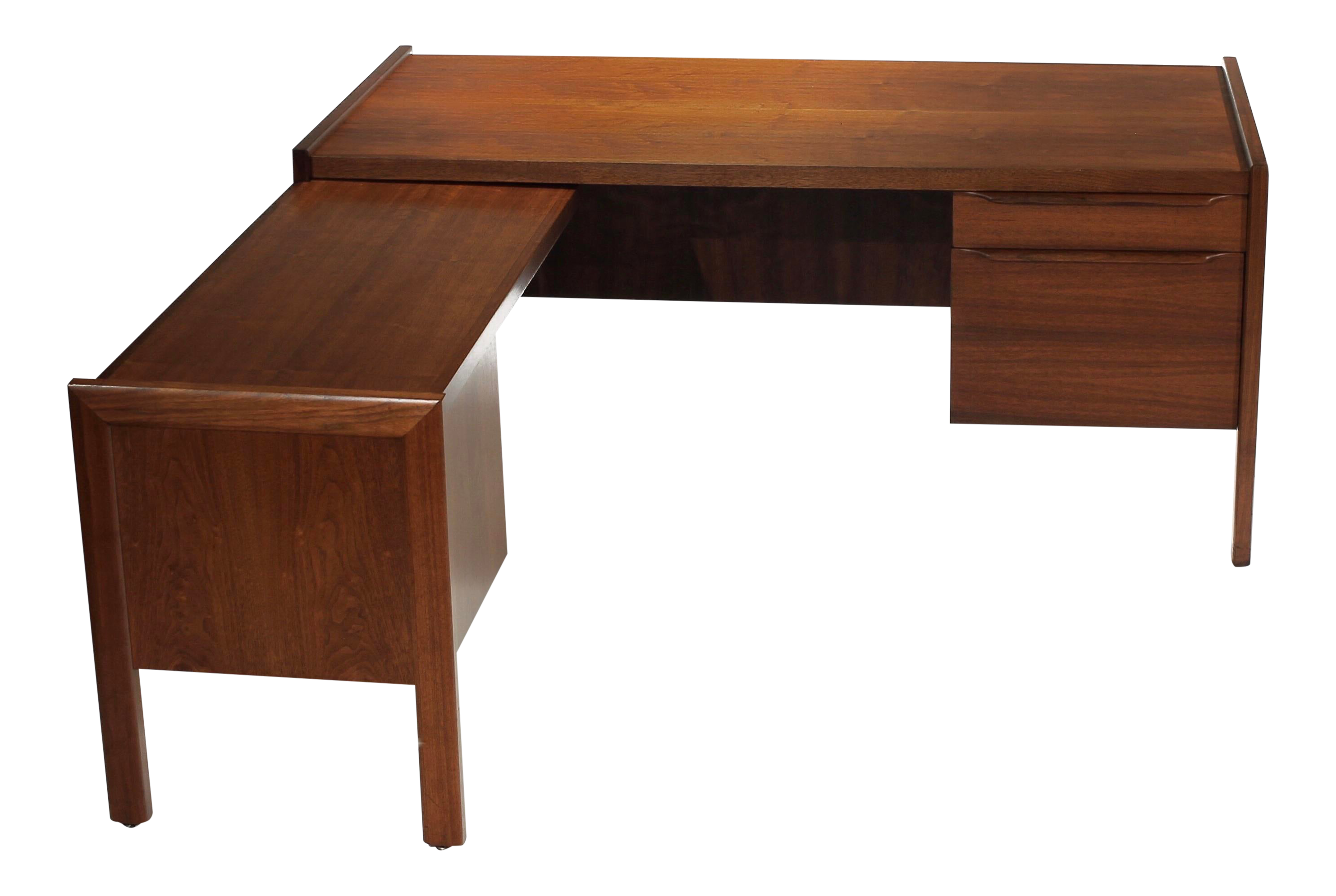 Image of: 1960s Mid Century Modern Walnut Executive L Shape Desk With Return Chairish