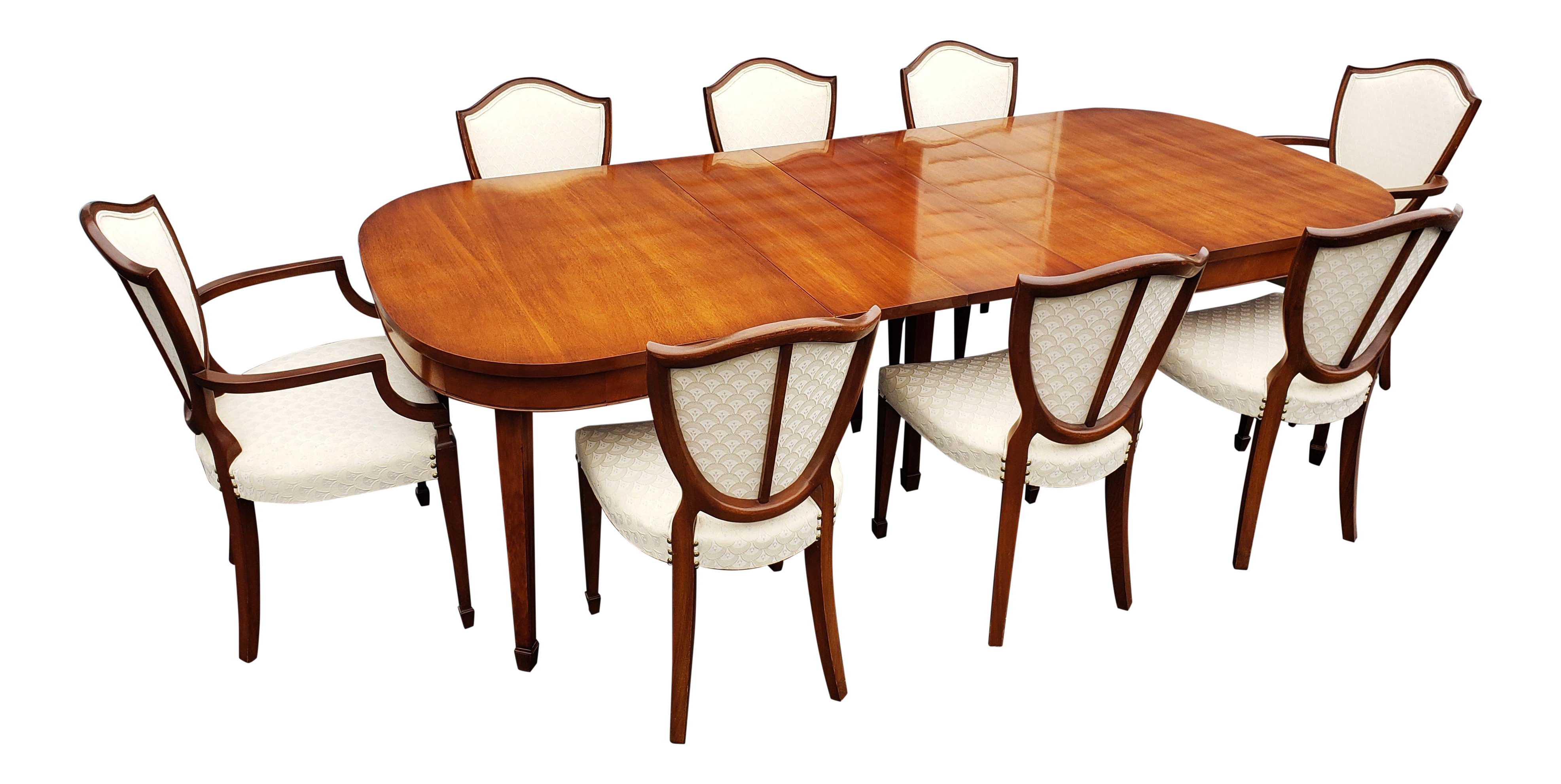 Drexel Heritage Dining Room Set -Table, 3 Leafs and 8 Hepplewhite Chairs