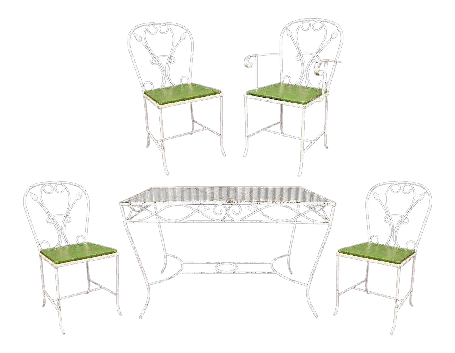 wrought iron patio table and 4 chairs. Vintage Salterini Wrought Iron Patio Dining Set Table 4 Chairs Art Nouvea White | Chairish And