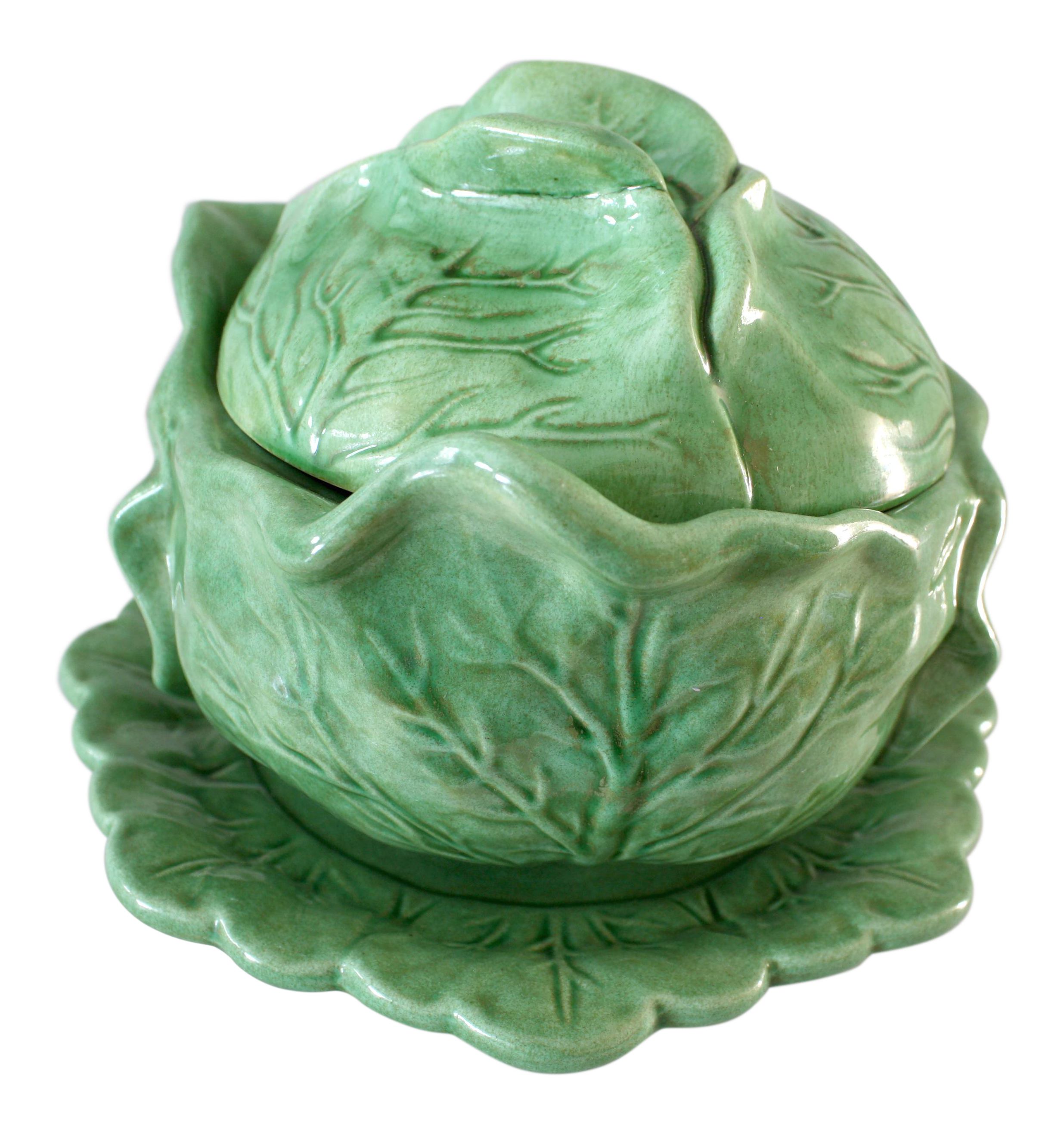 Vintage Majolica Style Cabbage Tureen Covered Bowl With Saucer Set Chairish