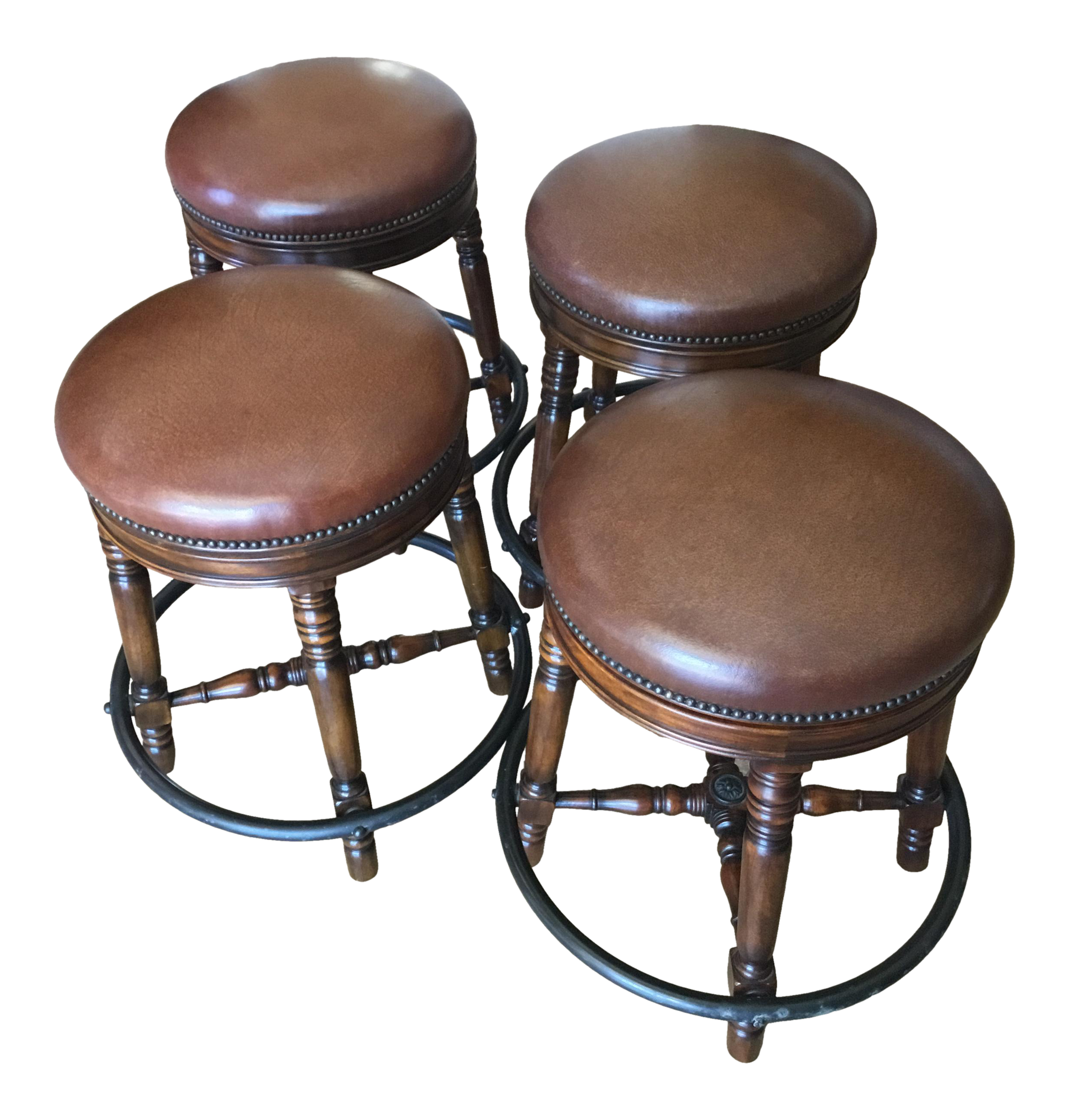 Strange Vintage Theadore Alexander Leather And Brass Counter Stools Set Of 4 Short Links Chair Design For Home Short Linksinfo