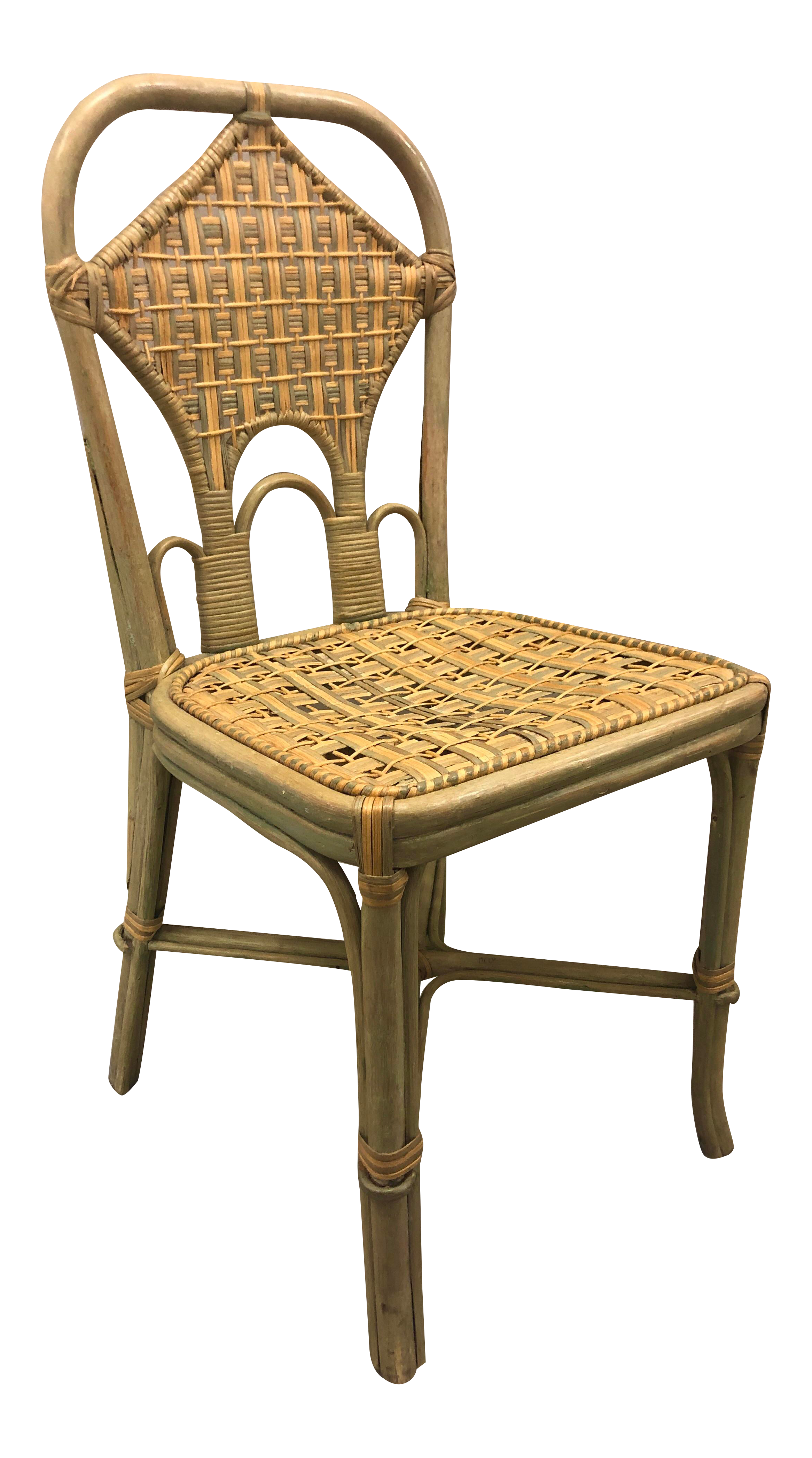 Rattan Wicker High Back Side Chair With Bentwood