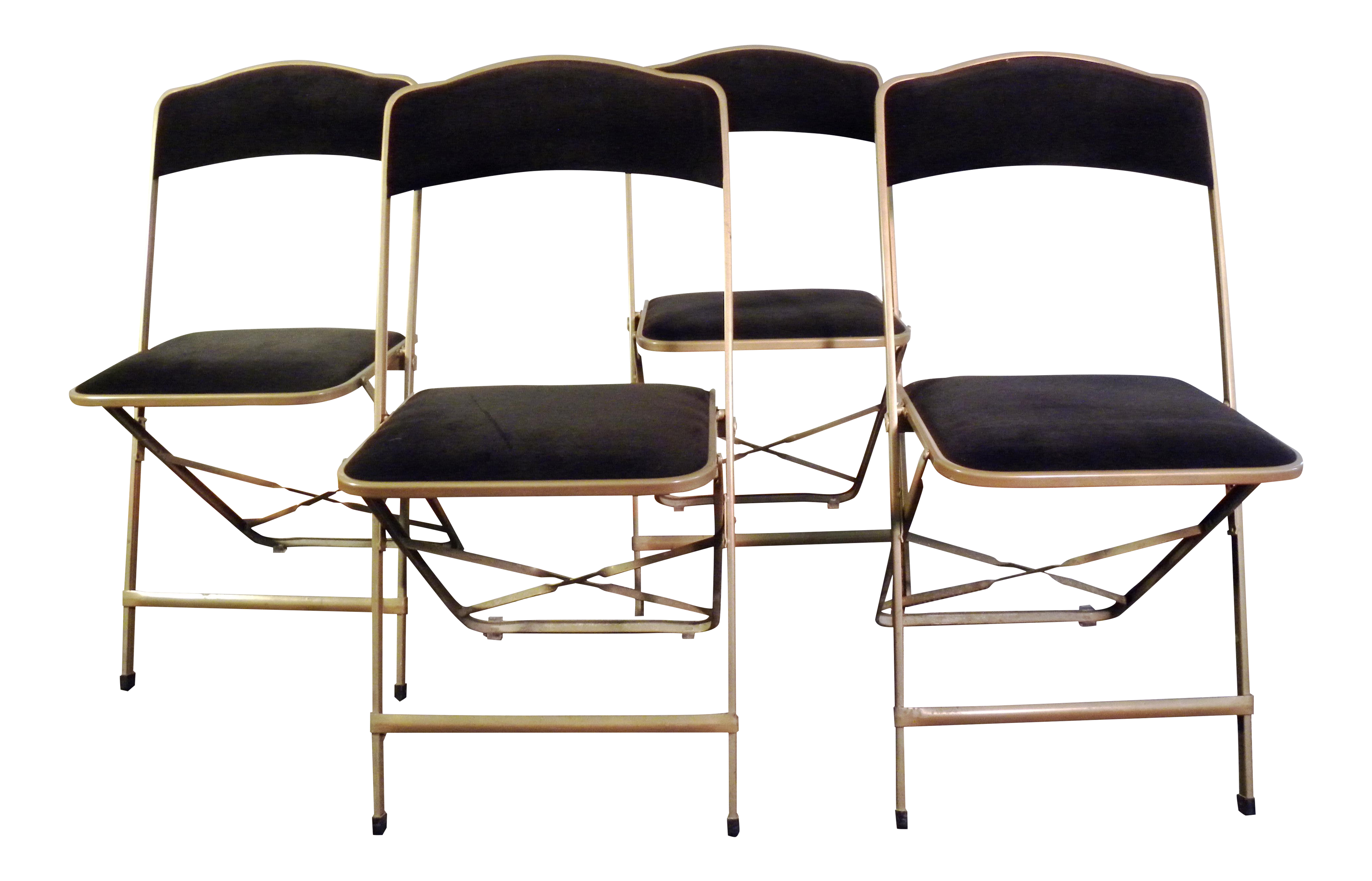 Vintage Mid Century Black Velvet Folding Chairs Set of 4