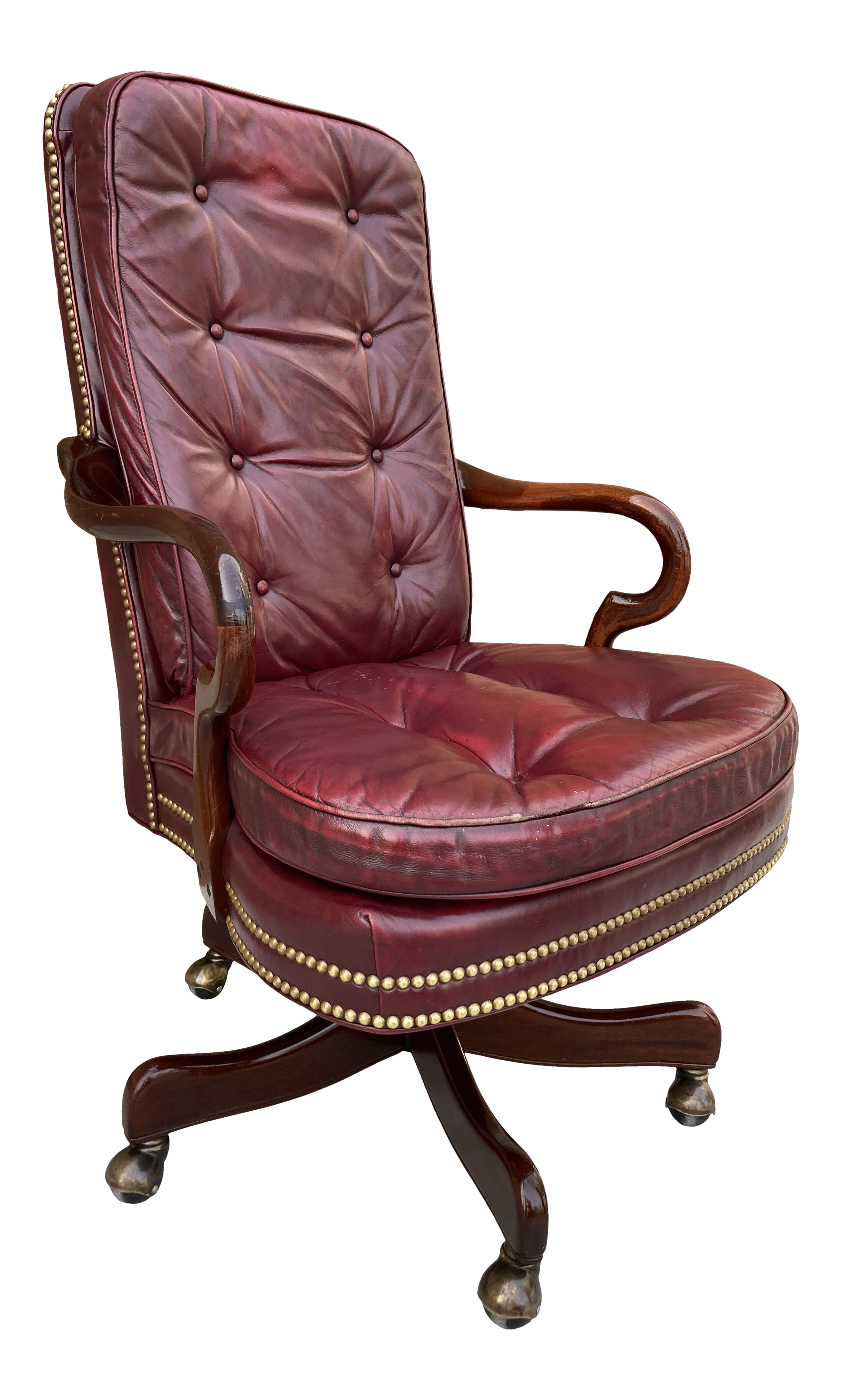 Traditional Mahogany Gooseneck Arm Tufted Leather Executive High Back By Cabot Wreen Chairish