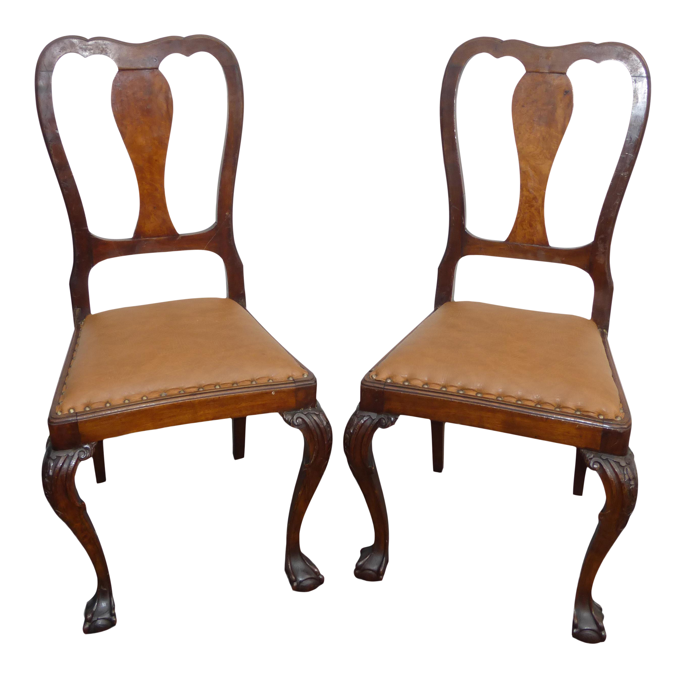 Cool Pair Brown Leather Chippendale Style Carved Wood Accent Chairs Ball Claw Feet Unemploymentrelief Wooden Chair Designs For Living Room Unemploymentrelieforg