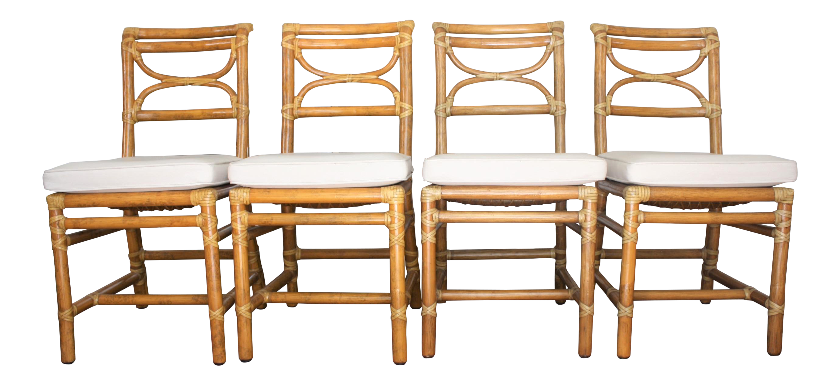 Vintage mcguire bamboo dining chairs set of 4 chairish