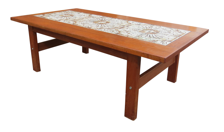 1960s Mid Century Modern Danish Tile Top Teak Coffee Table Chairish
