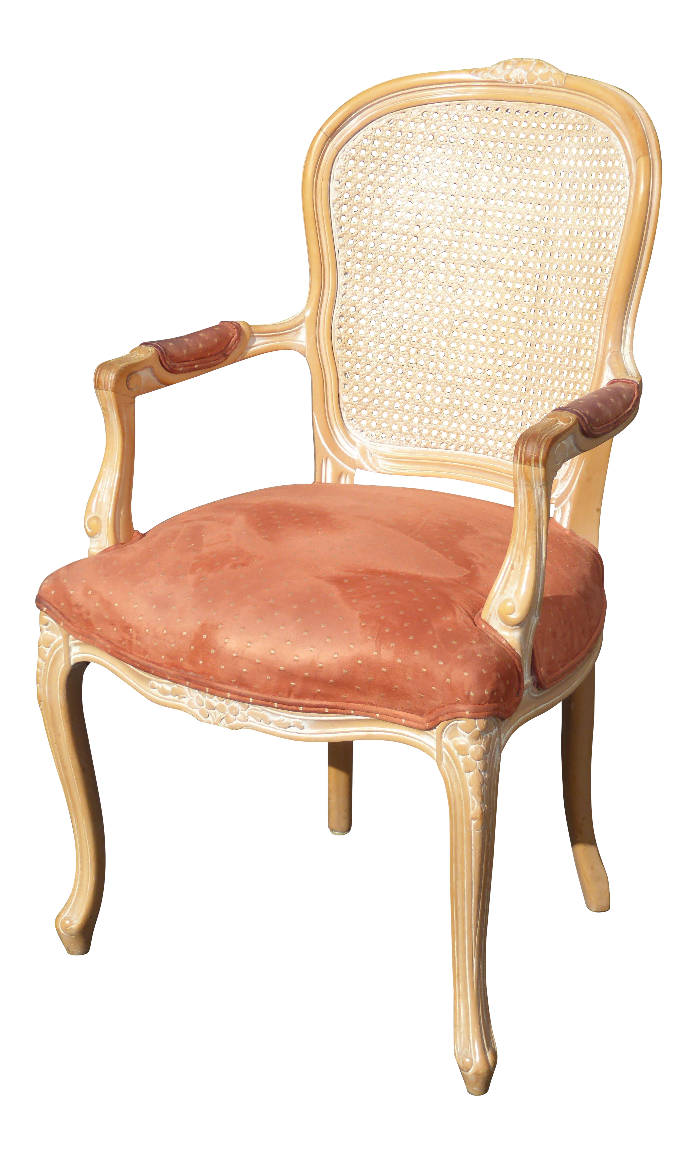 Vintage French Provincial Cane Back Off White Accent Chair W Peach