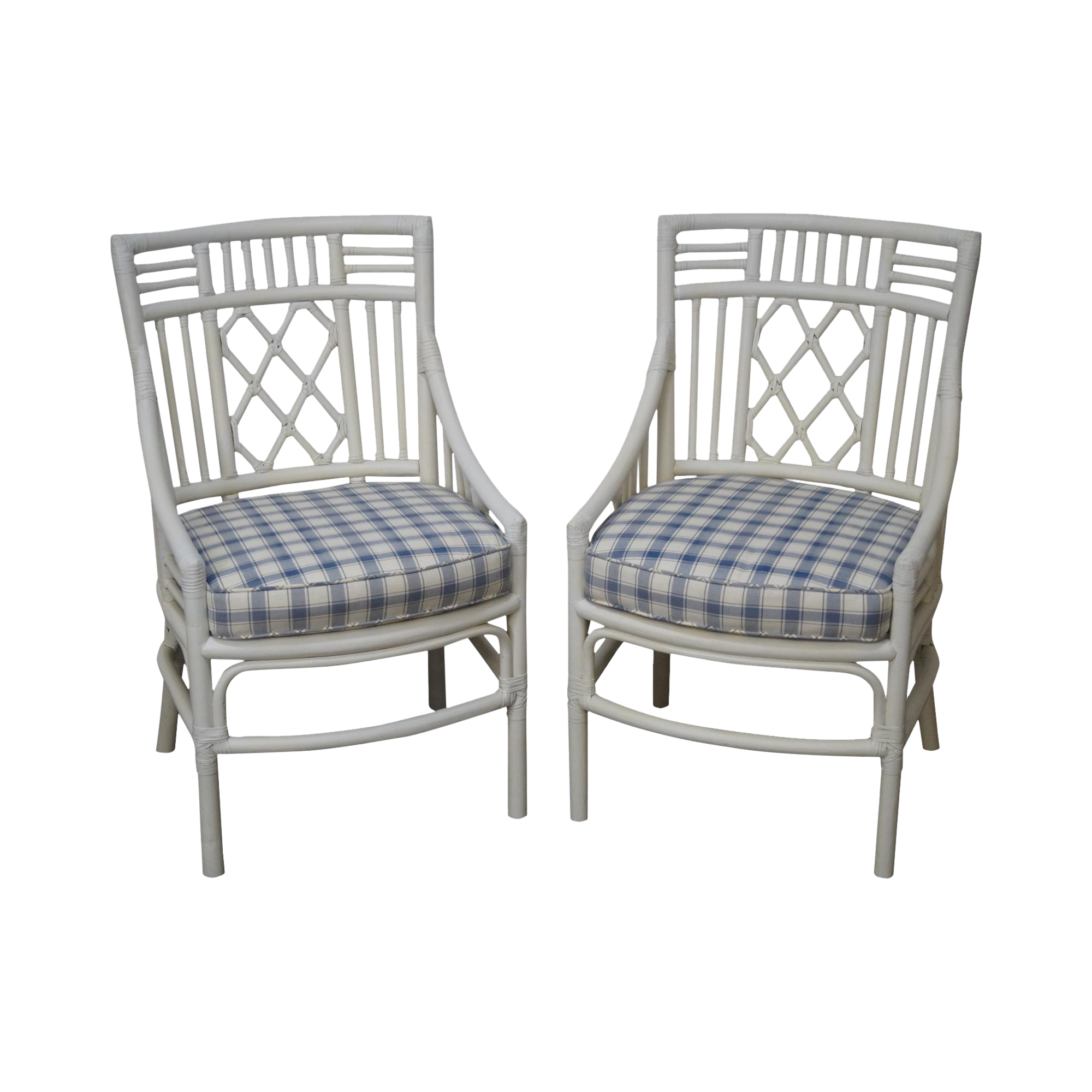 Quality Pair Of White Painted Mcguire Style Rattan Chairs