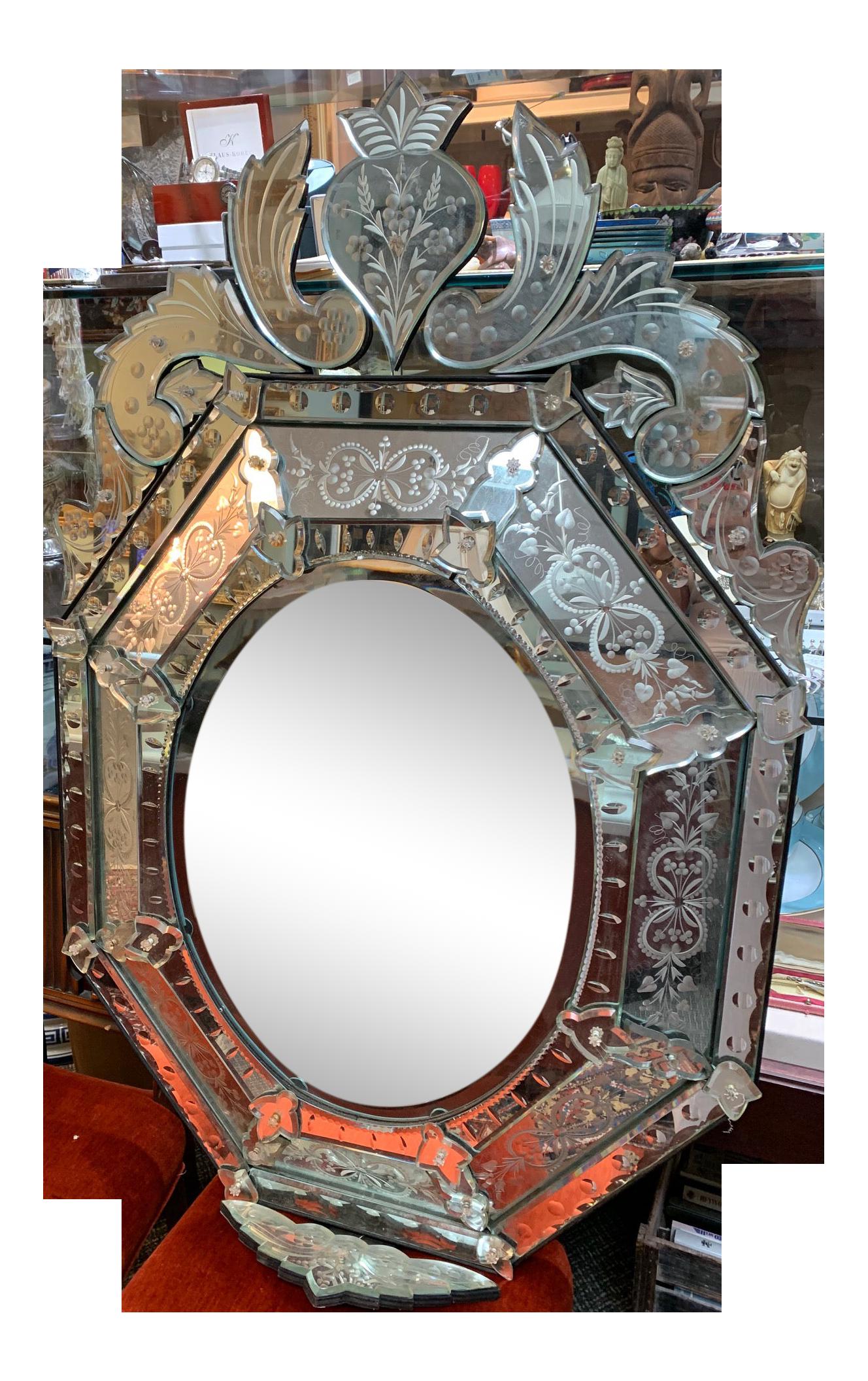 Vintage Etched Glass Mirror Chairish
