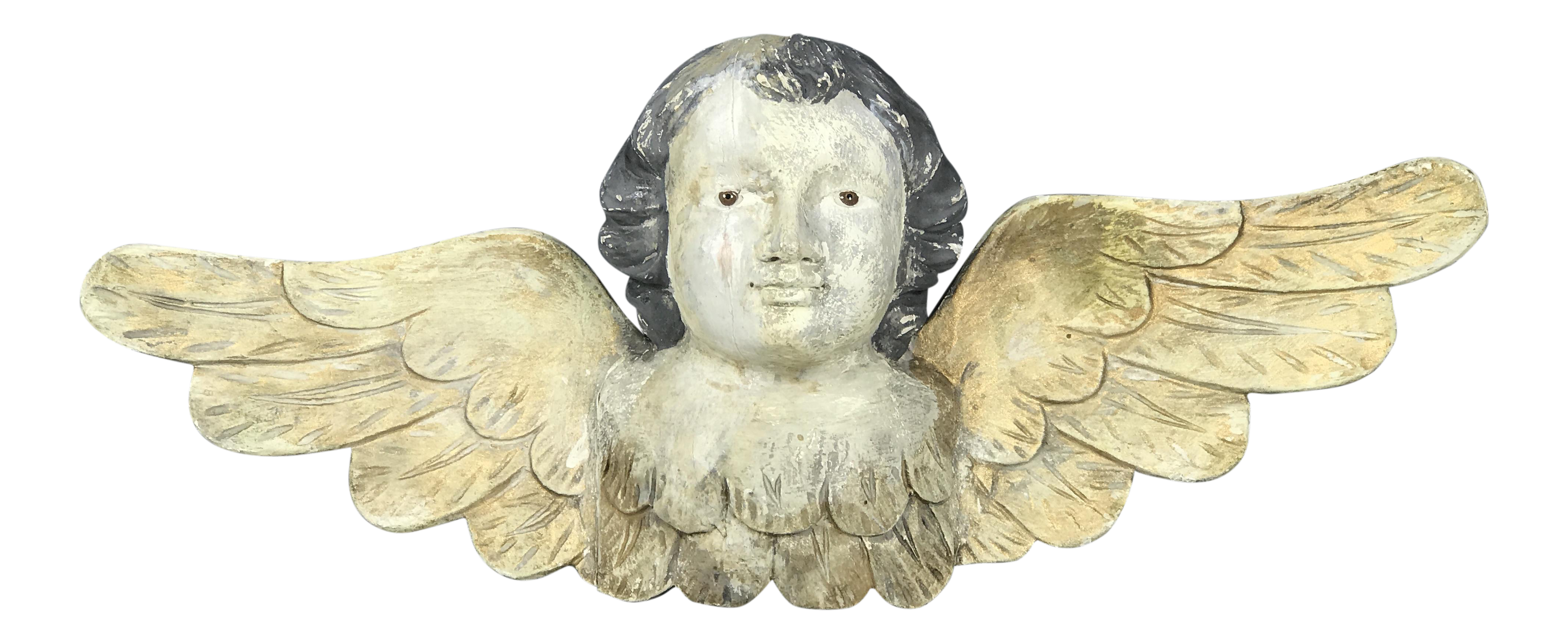 Handcarved Wood Cherub With Long Wings | Chairish