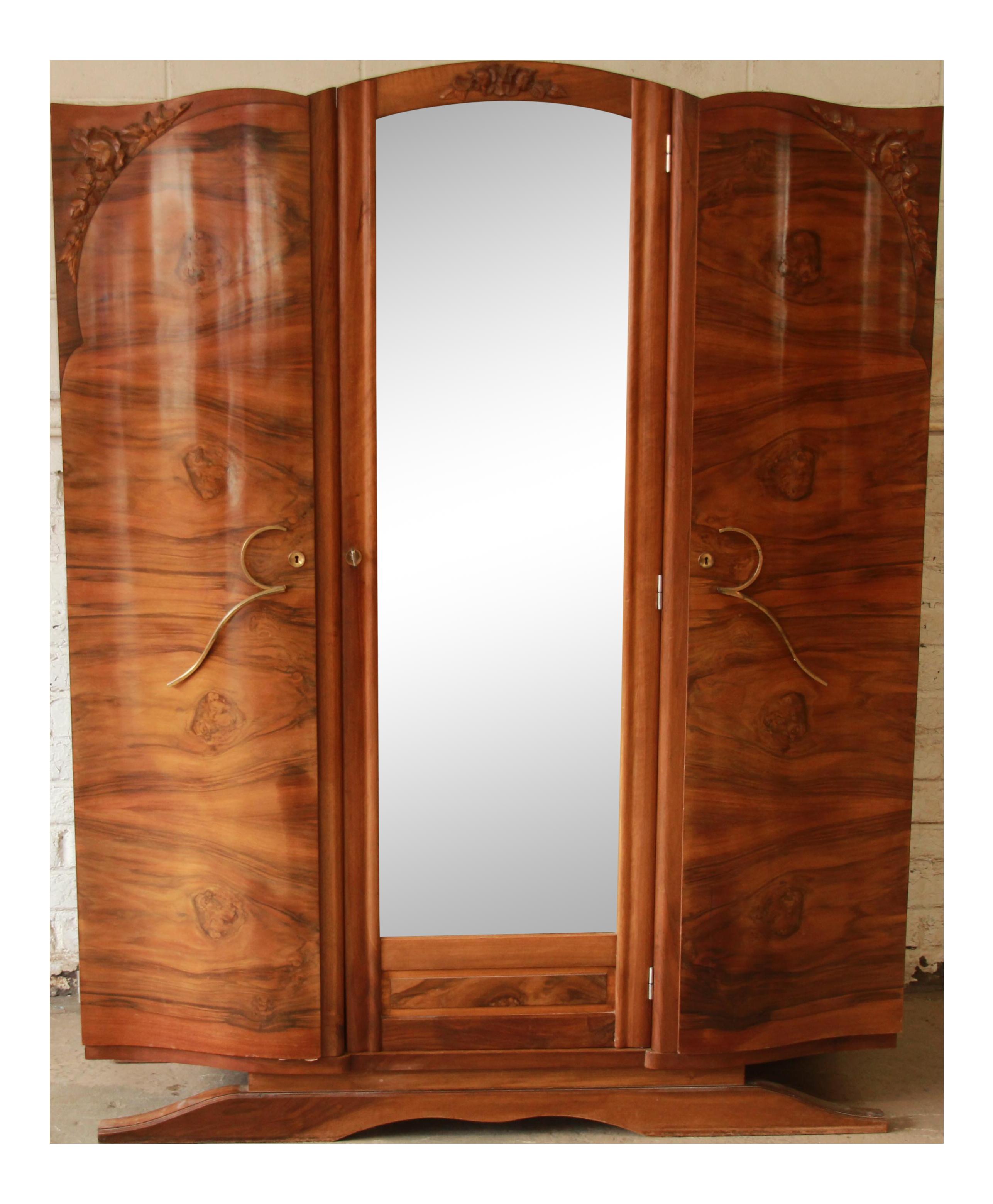 1930s French Art Deco Mirrored Wardrobe Chairish