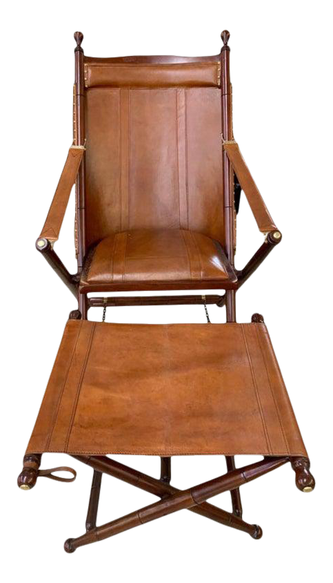 Paleck Brown Leather Campaign Folding, Folding Leather Campaign Chair