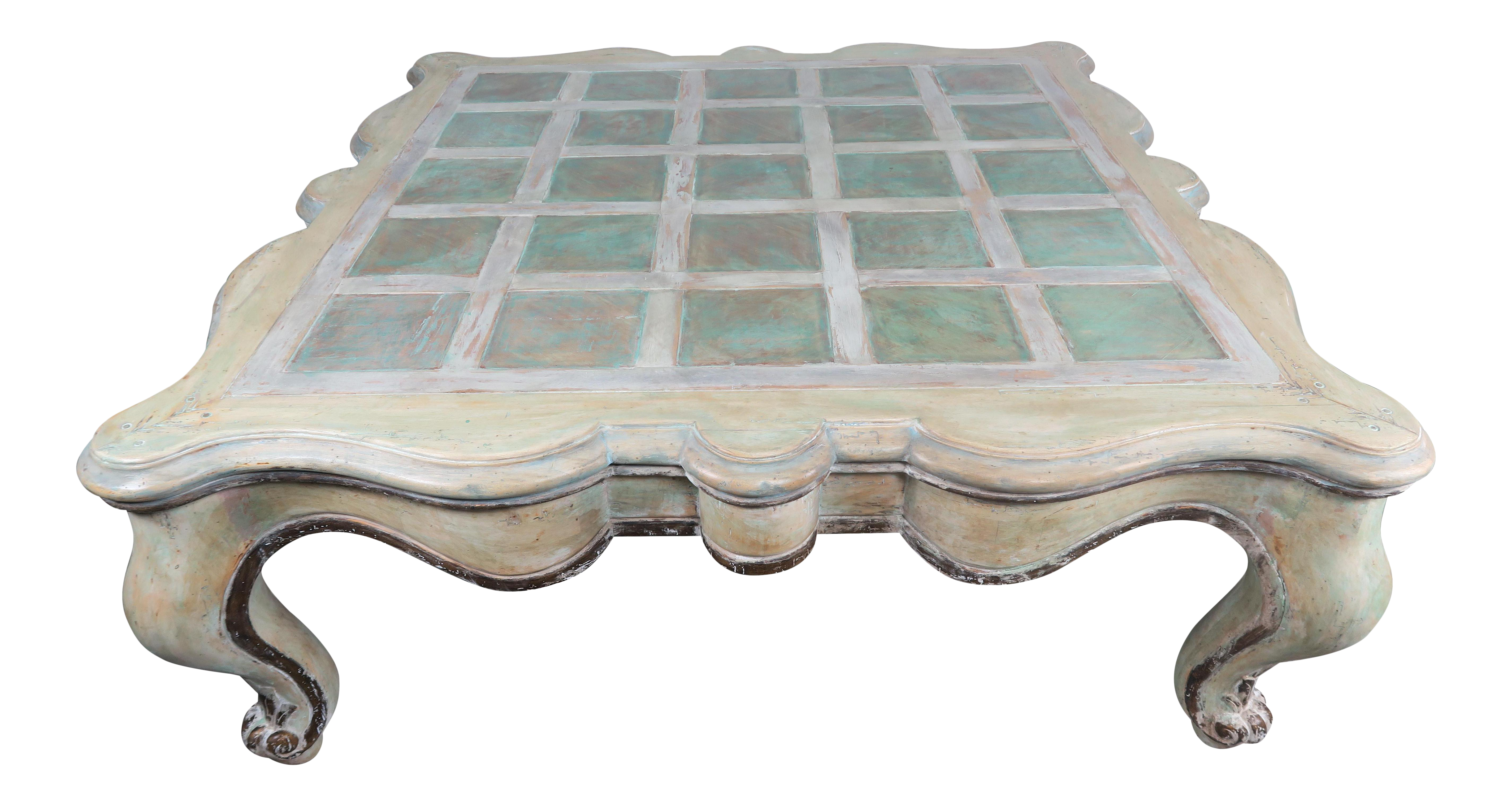 Monumental Square Scalloped French Painted Coffee Table Chairish