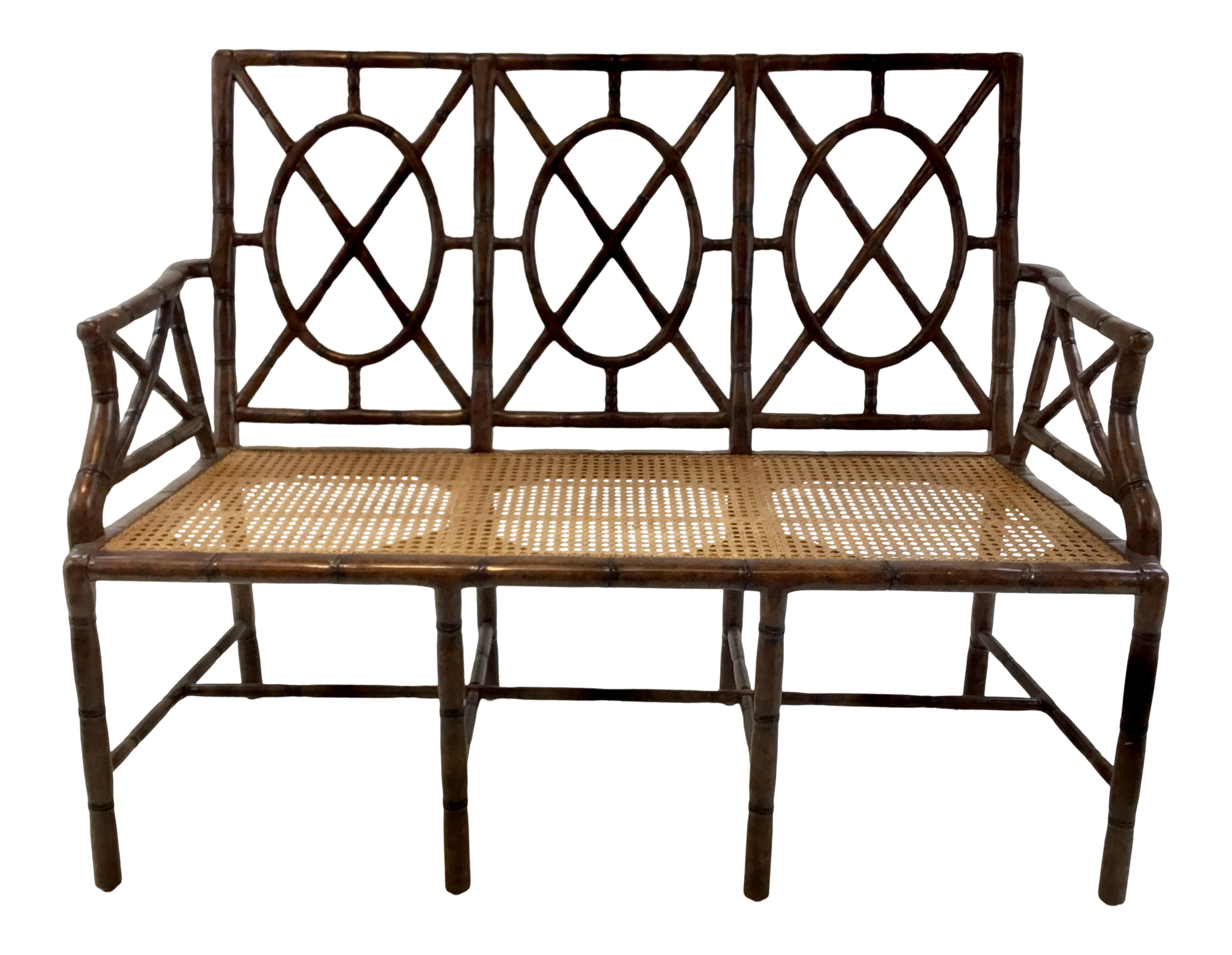 Swell Hickory Chair Mid Century Modern Asian Style Bamboo And Cane Gillow Bench Ncnpc Chair Design For Home Ncnpcorg