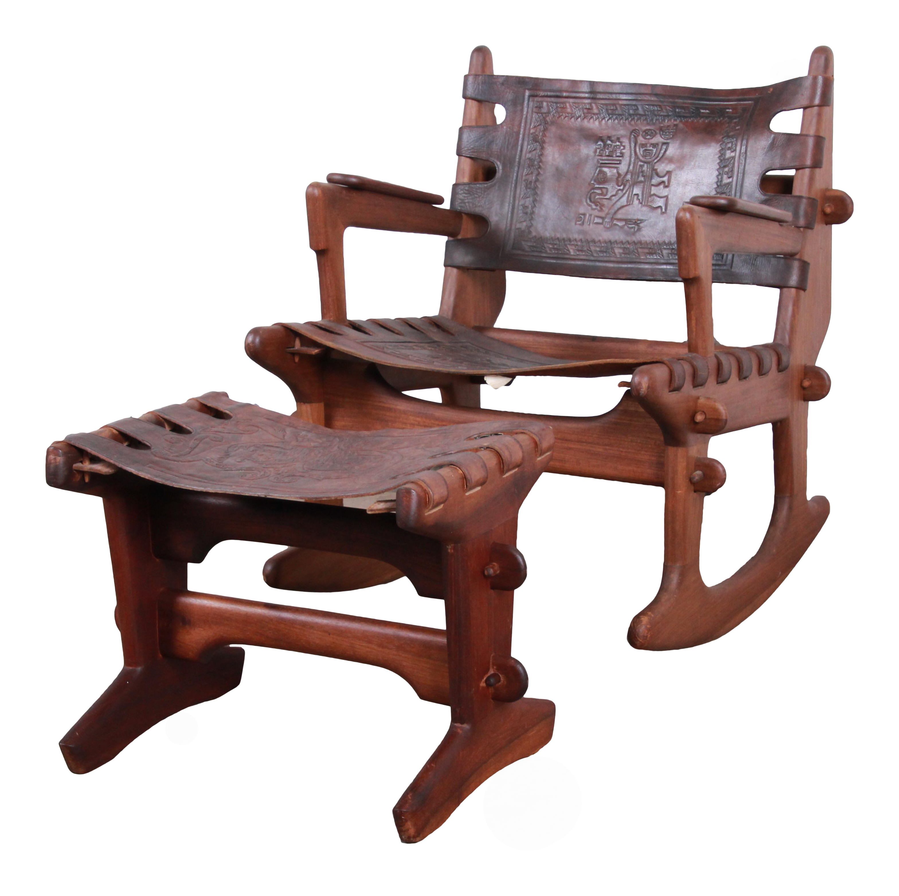 Outstanding Angel Pazmino Teak And Leather Rocking Chair With Ottoman Ecuador 1960S Short Links Chair Design For Home Short Linksinfo