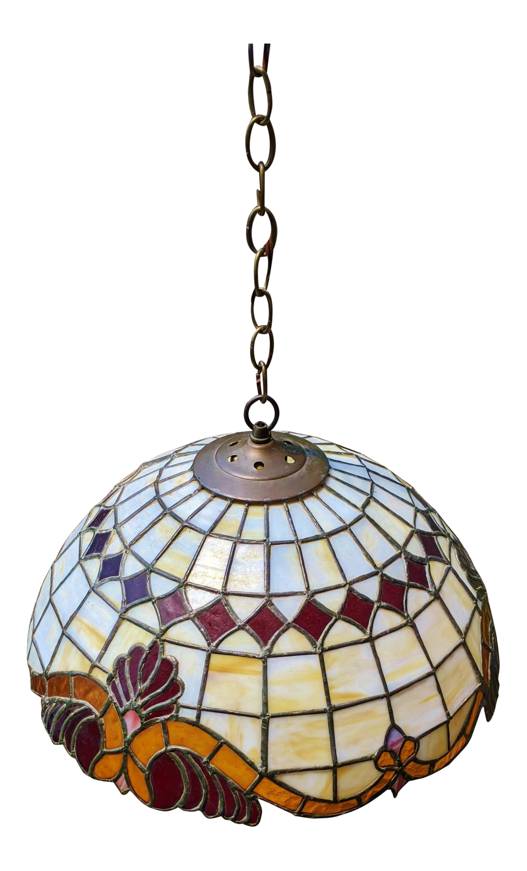 Large Vintage Tiffany Style Stained Glass Ceiling Pendant Light Fixture Chairish