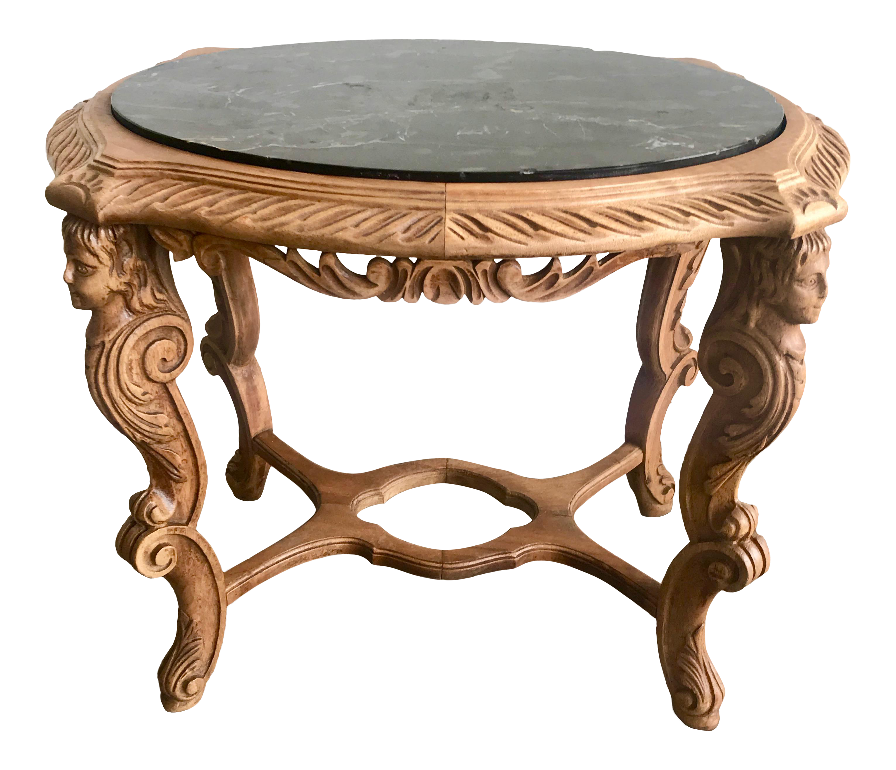 20th century french ornate carved wood black marble top side table