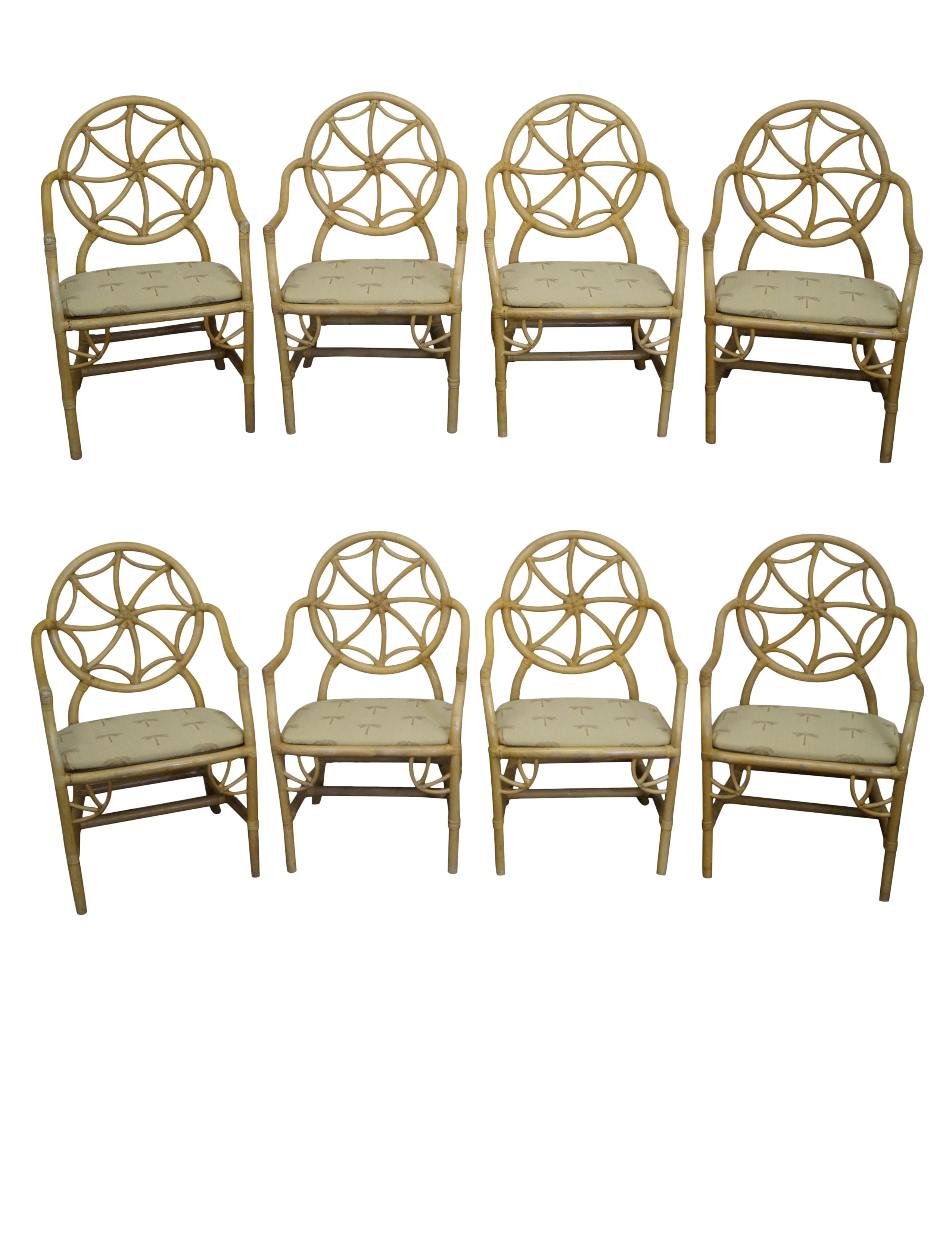 Mcguire Style Rattan Spider Back Dining Chairs Set Of 8