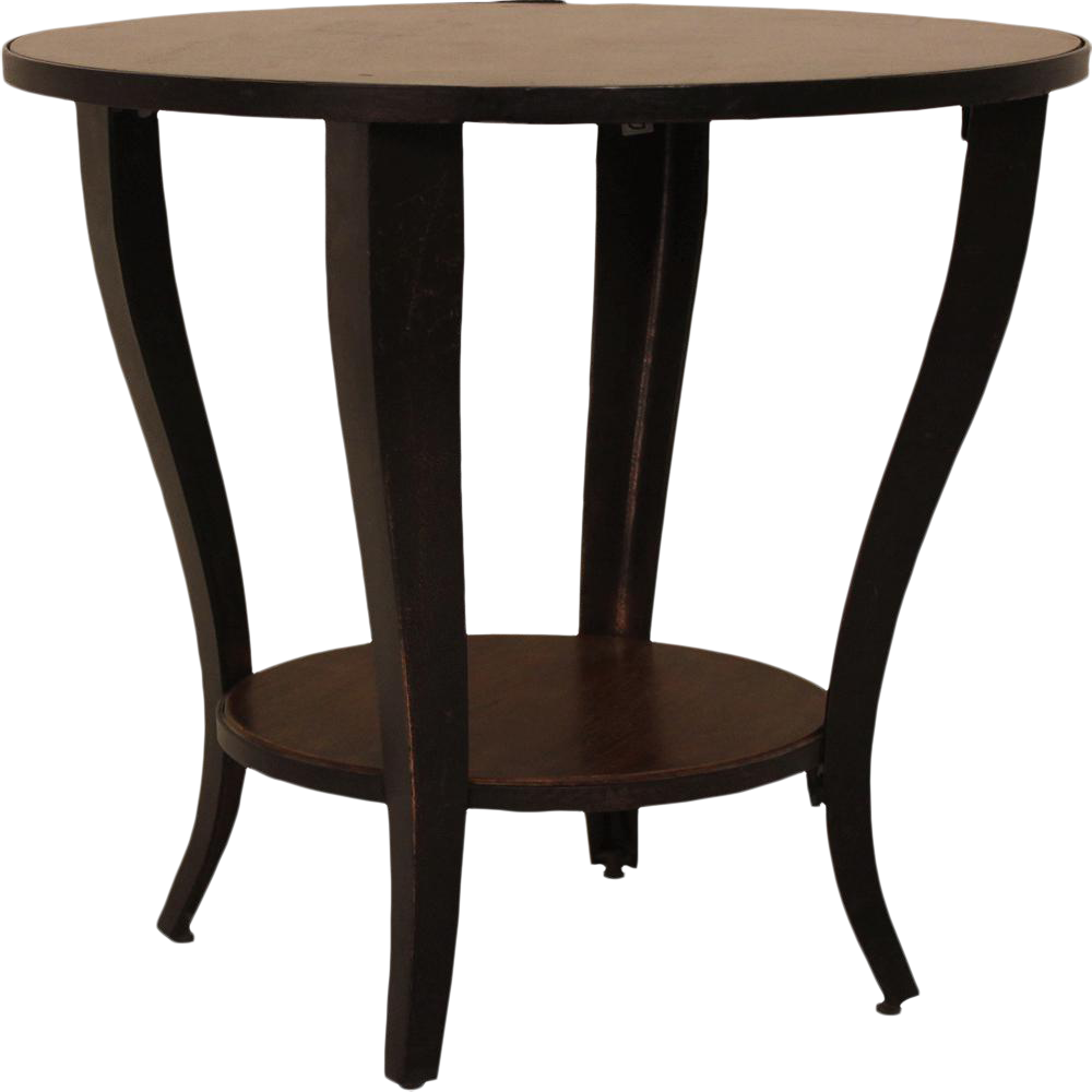 Round Accent Side End Table With Shelf Pedestal Stand Wood