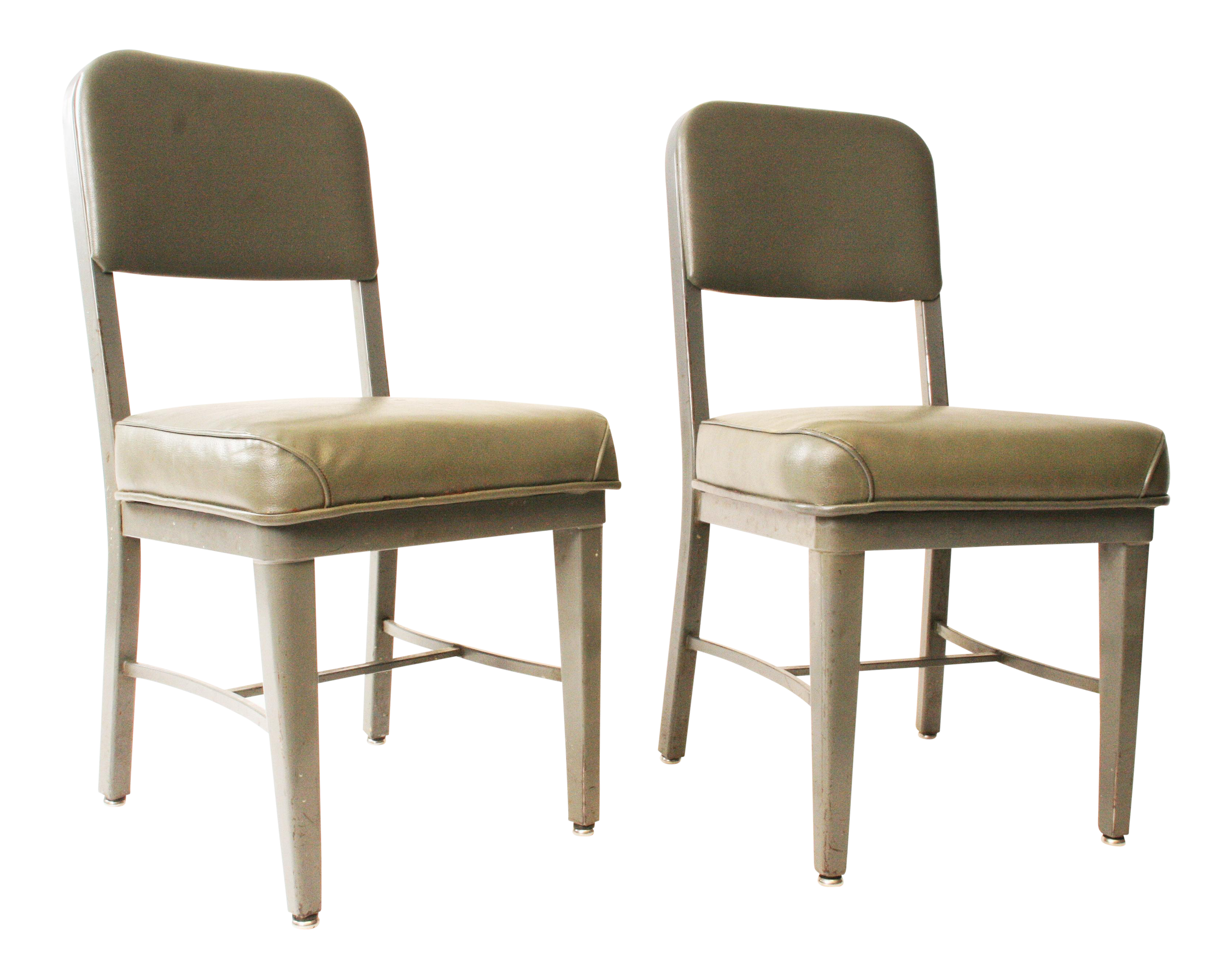Chromcraft Vintage Industrial Gray Metal Chairs A Pair