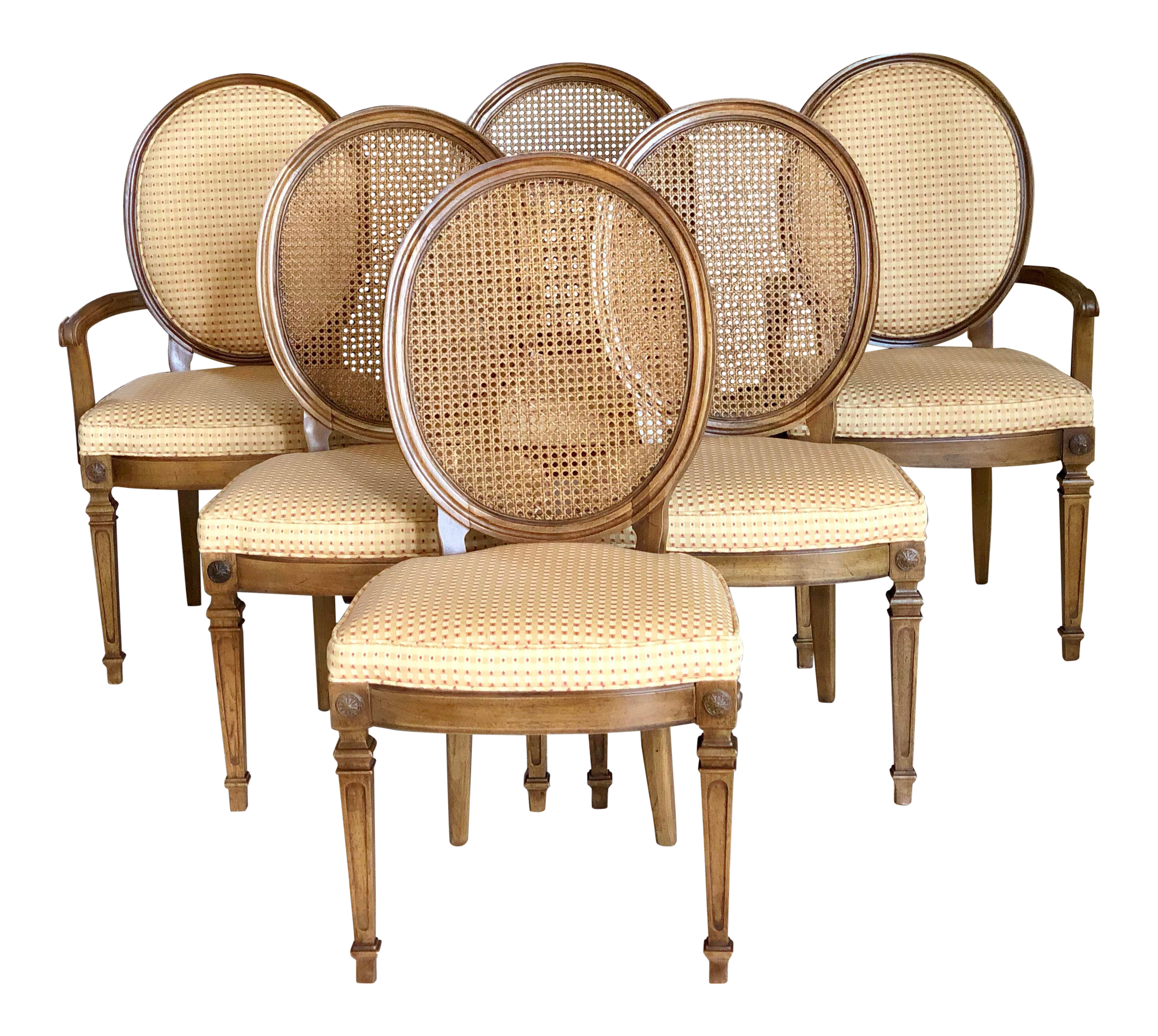 Amazing 20Th Century Thomasville Louis Xvi Gingham Check Cane Dining Chairs Set Of 6 Ncnpc Chair Design For Home Ncnpcorg