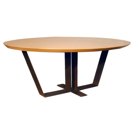 20th century custom oak top dining table chairish for Hades dining table th8