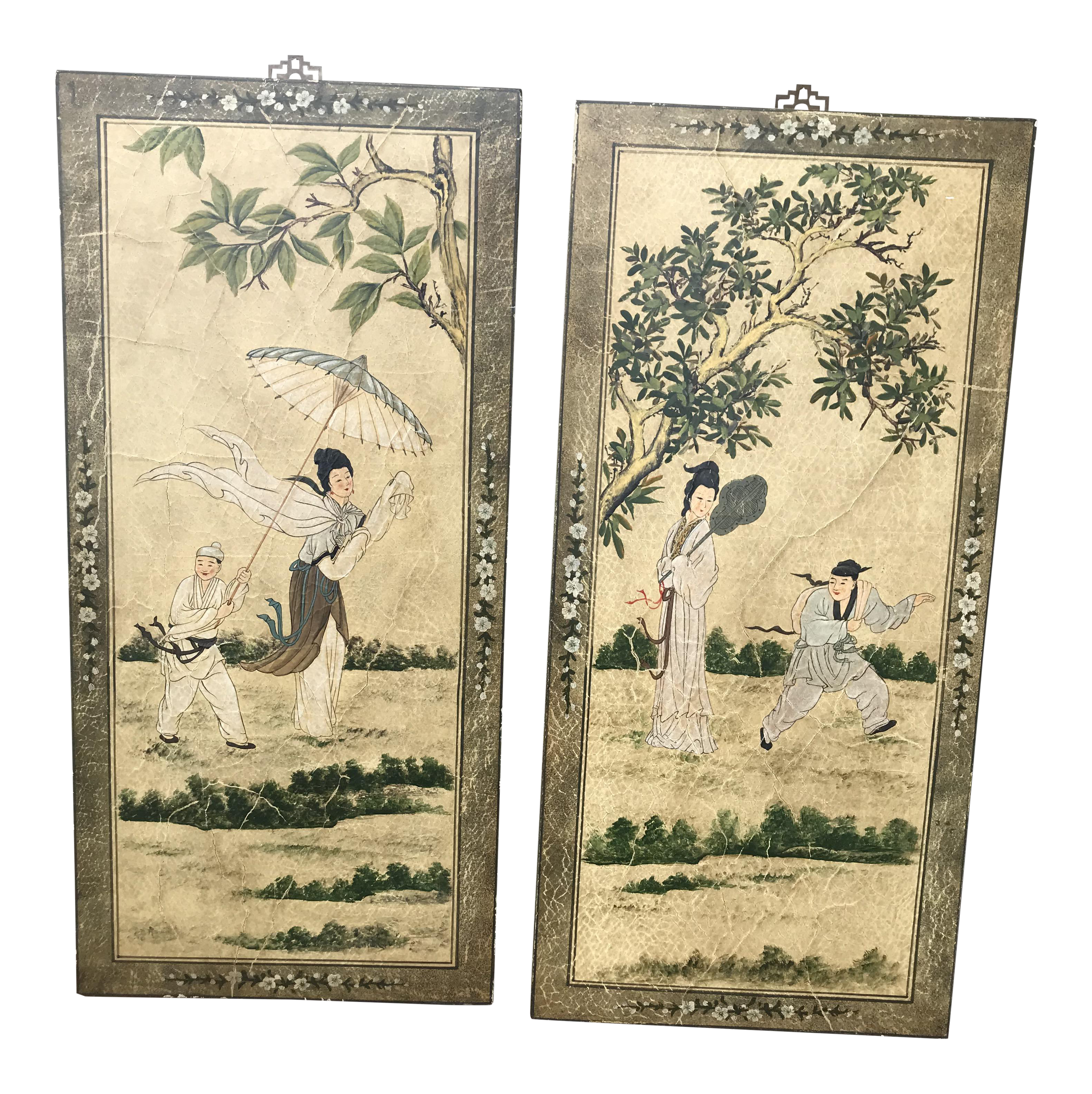 Vintage Hand Painted Asian Wall Art - A Pair | Chairish