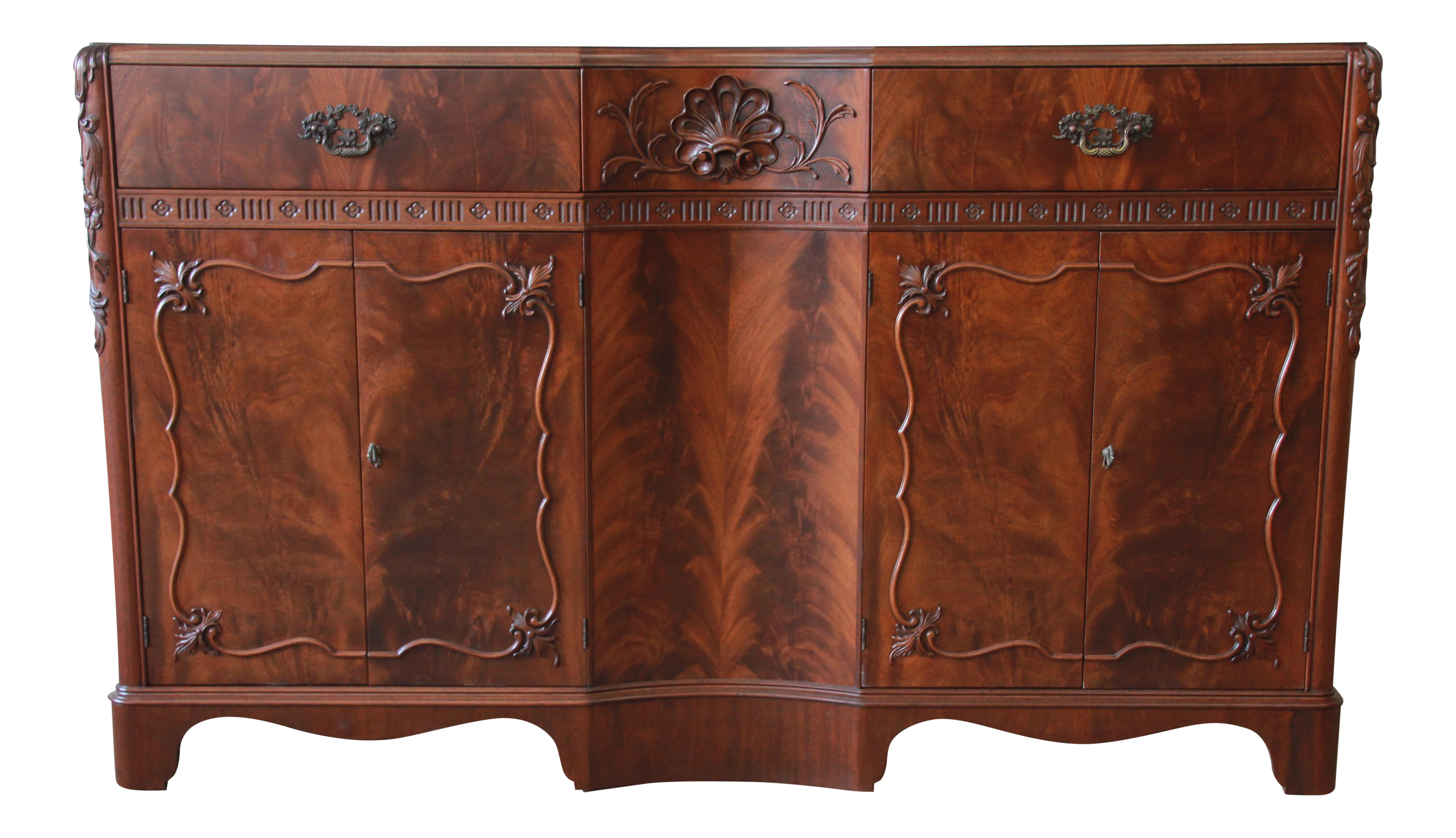 Landstrom Furniture French Carved Flamed Walnut Sideboard Buffet Chairish