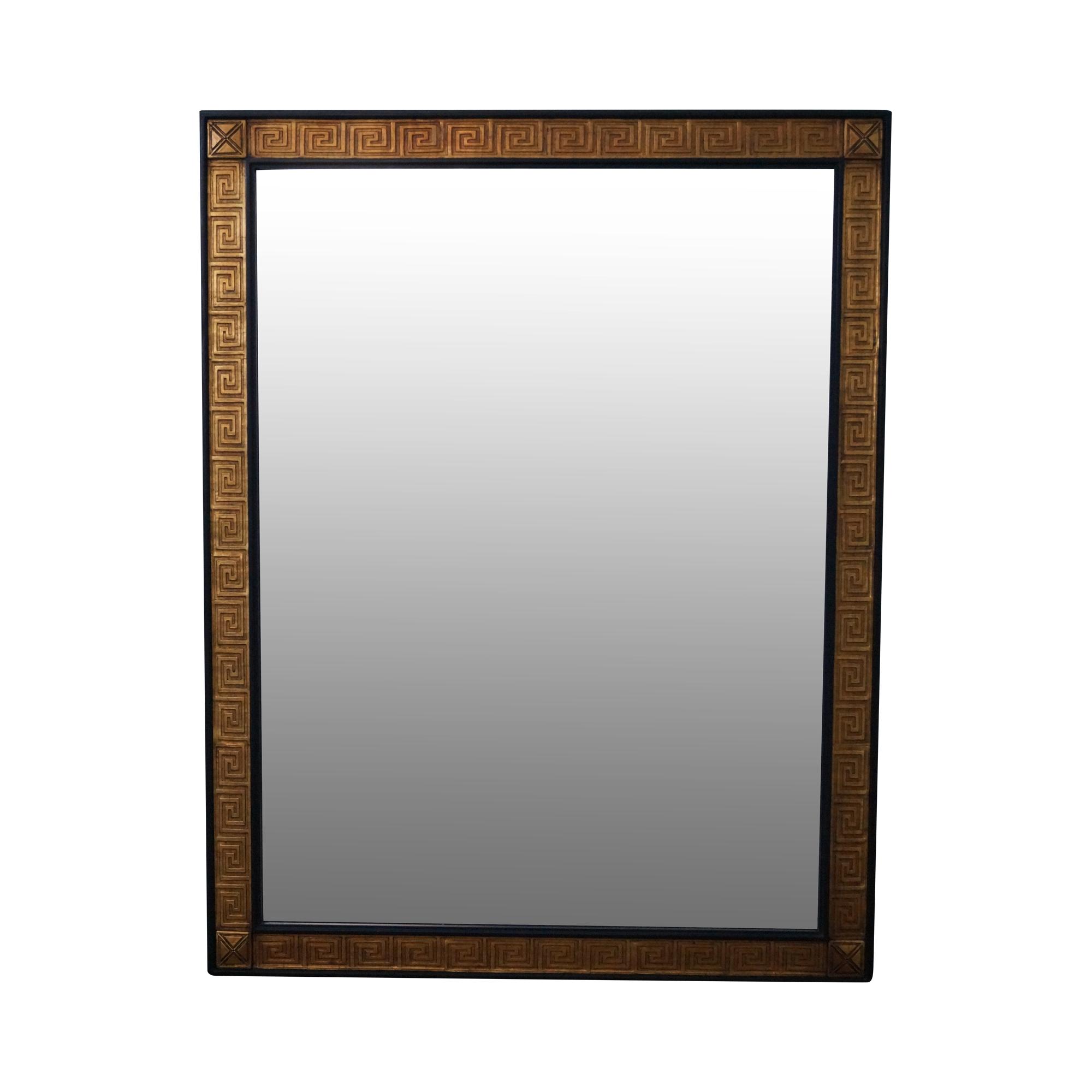 Black gold greek key design wood frame mirror chairish jeuxipadfo Choice Image