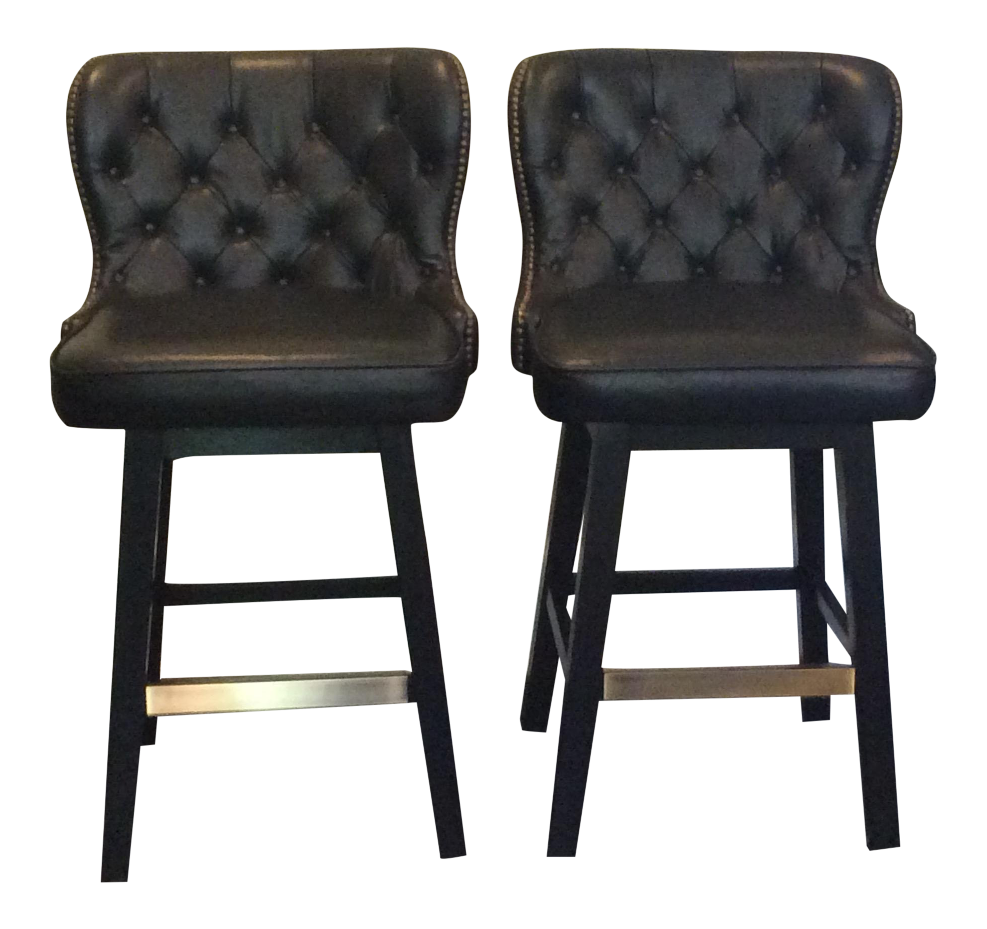 Peachy Traditional Pottery Barn Swivel Tufted Leather Bar Stools A Pair Pabps2019 Chair Design Images Pabps2019Com