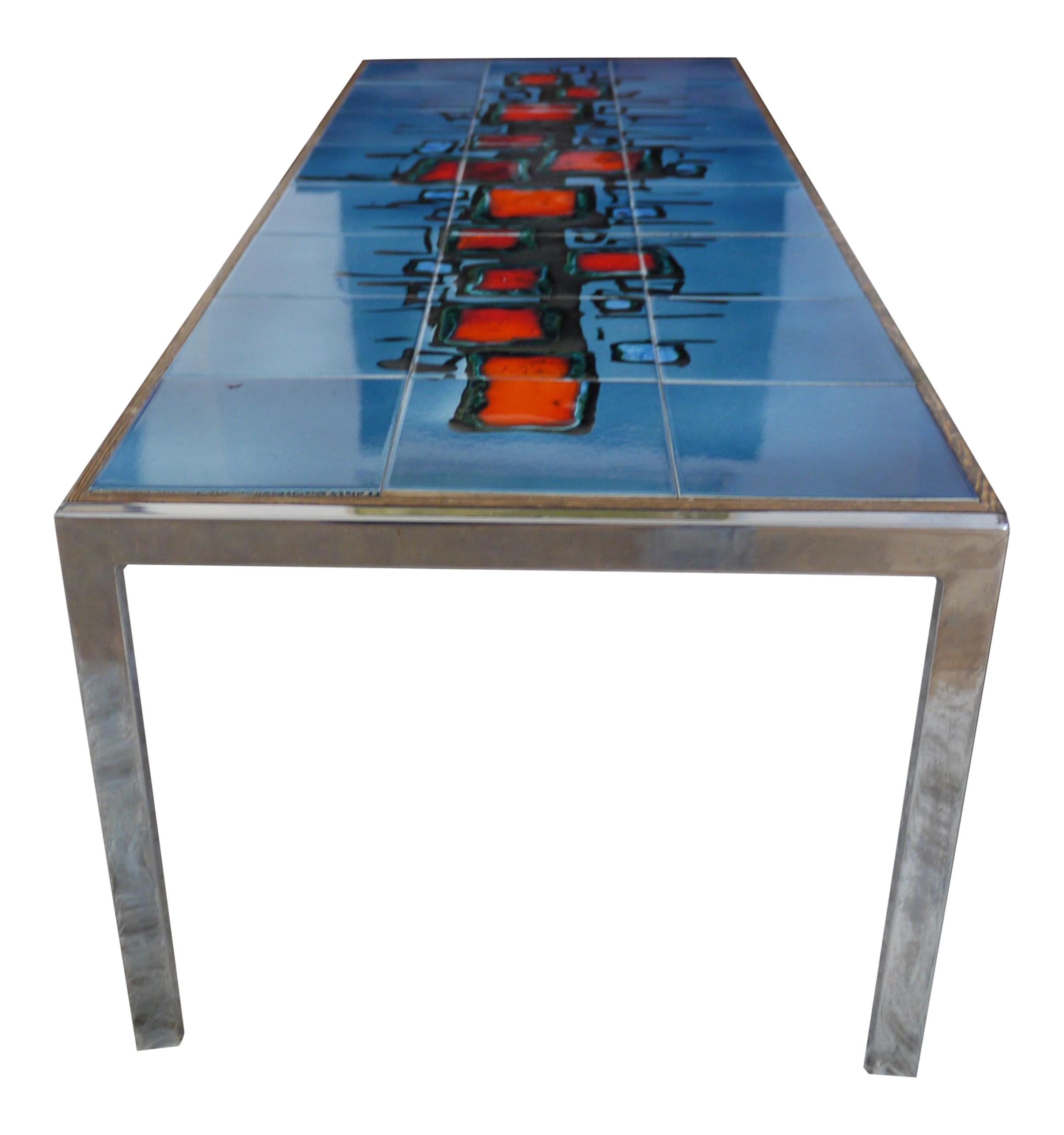Abstract painted ceramic tile table chairish dailygadgetfo Image collections