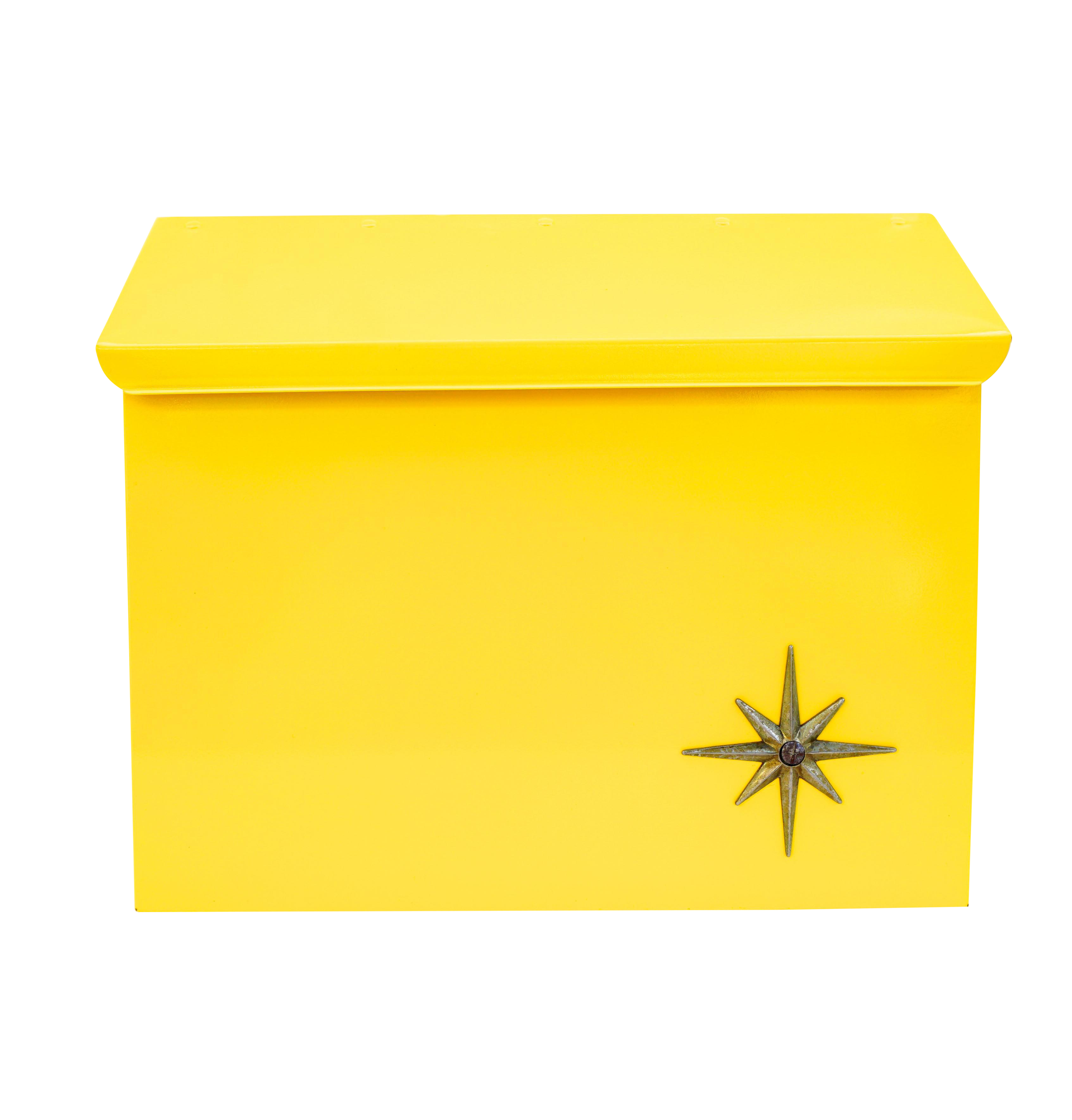 Mid-Century Modern Yellow Metal Atomic Starburst Wall Mount Mailbox ...
