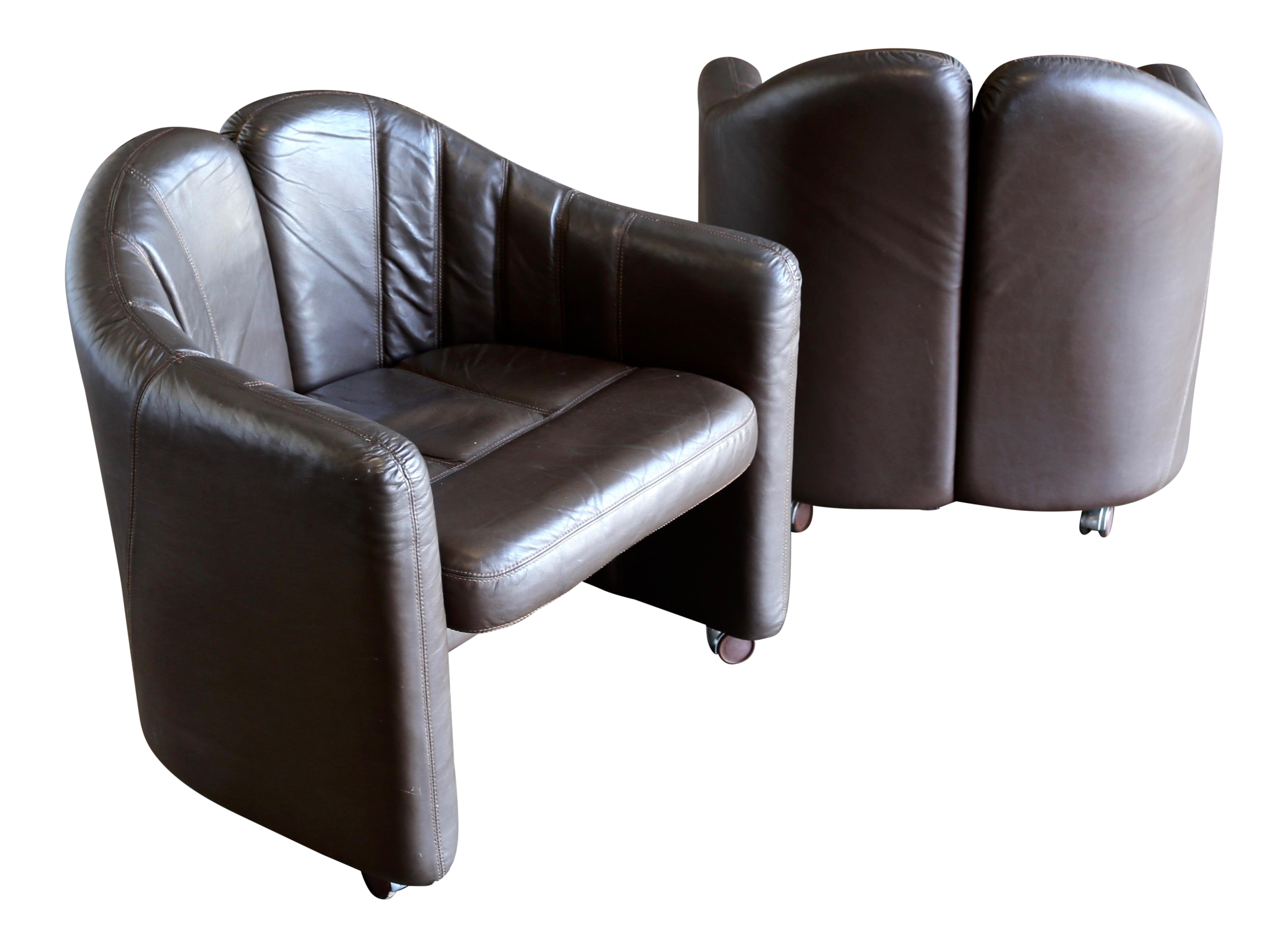 High End Pair Of Leather Club Chairs By Exklusiv Furniture Of Costa Rica,  Circa 1975 | DECASO