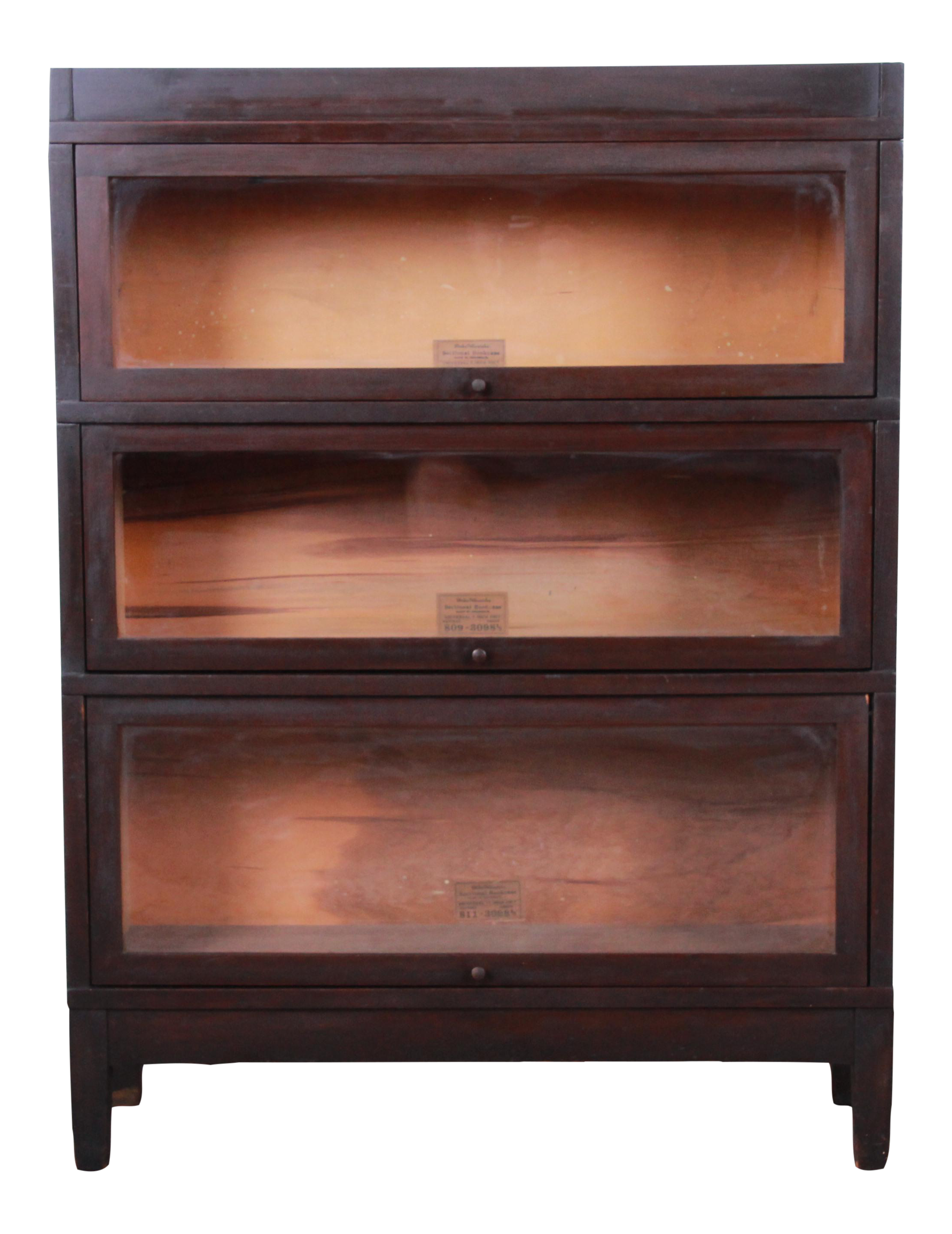 Globe Wernicke Antique Mahogany Three Stack Barrister Bookcase