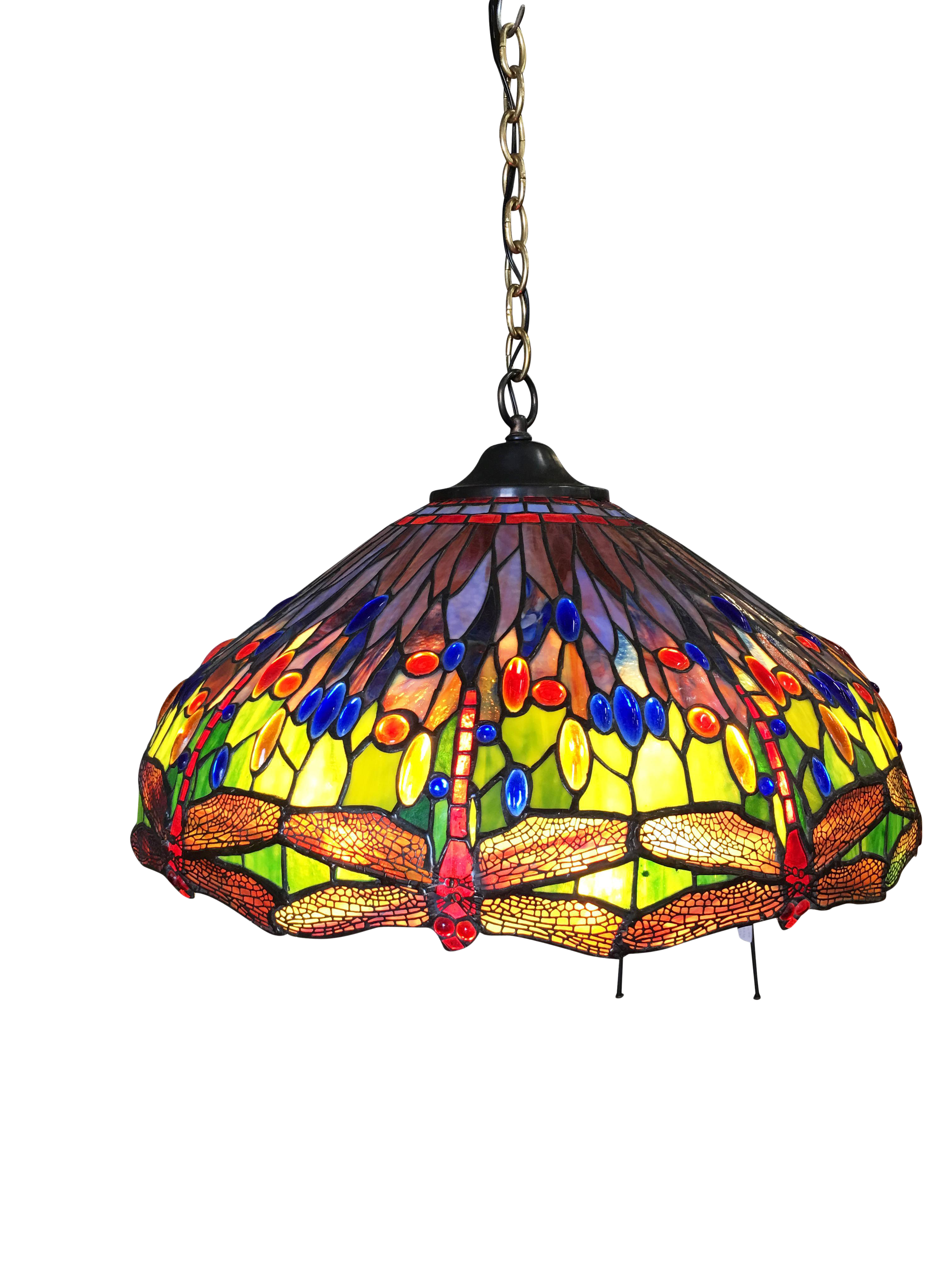Tiffany Style Stained Glass Hanging Dragonfly Chandelier Chairish