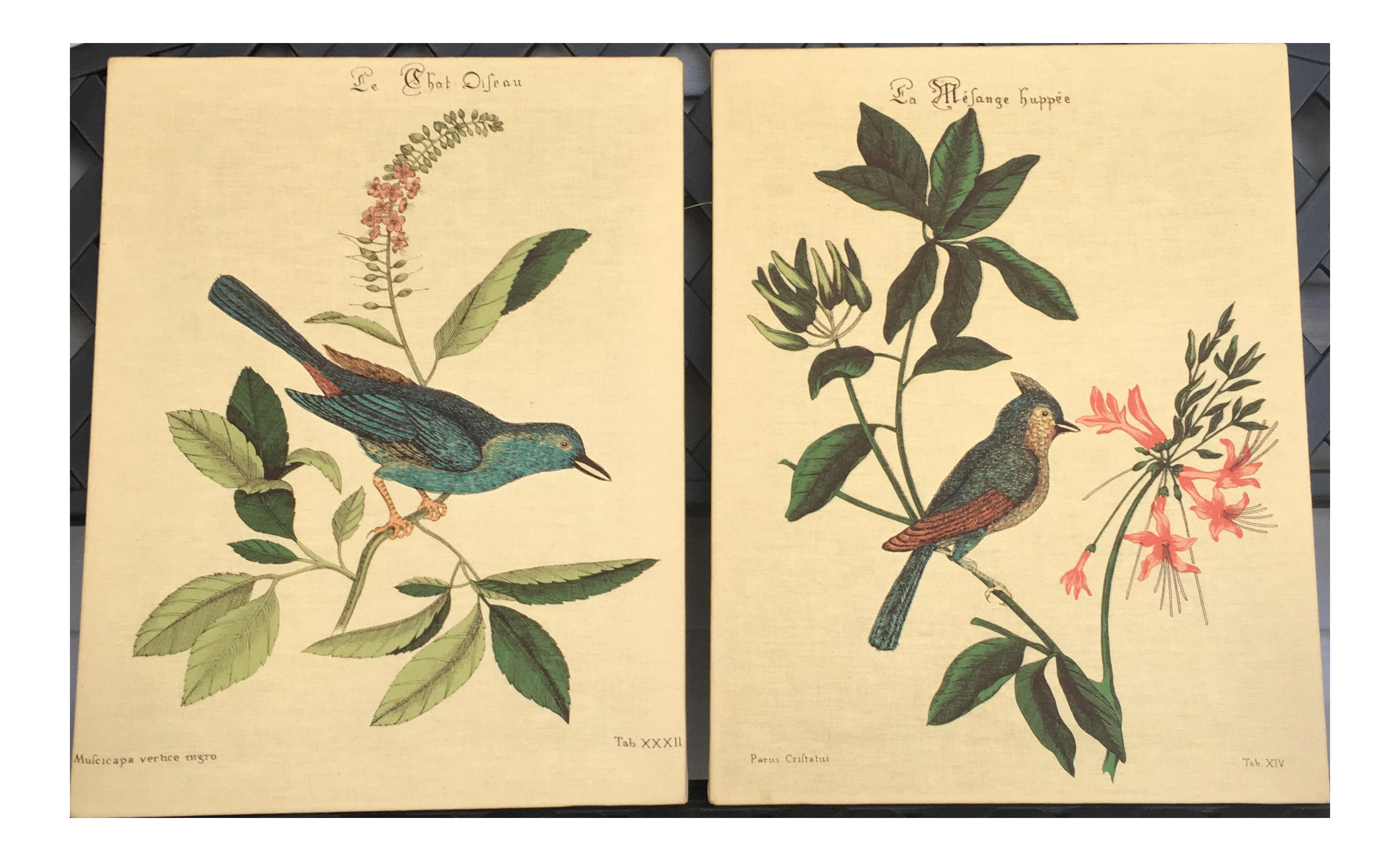 Vintage Bird Fabric Wall Hangings - A Pair | Chairish