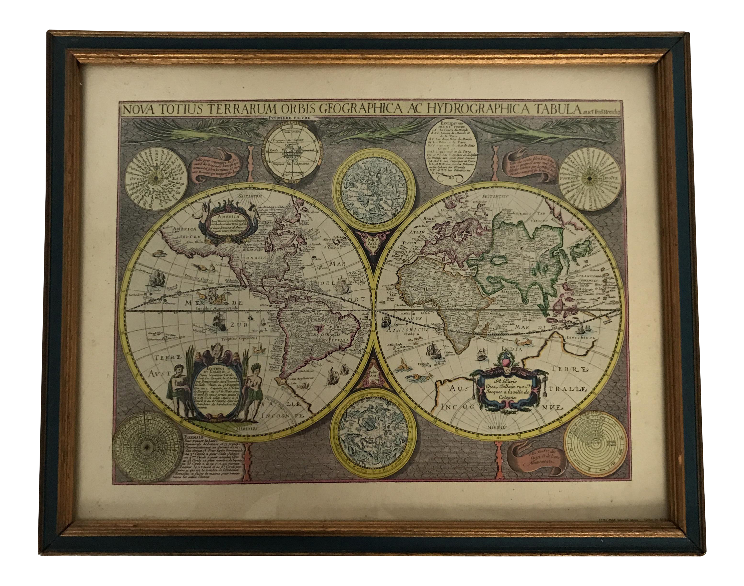Vintage framed old world map lithograph chairish gumiabroncs Image collections