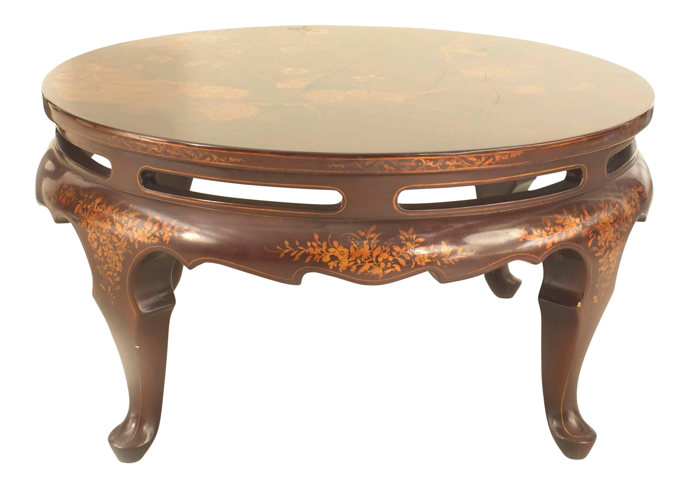 Bon Distinguished English Queen Anne Style Chinoiserie Rust Lacquer Floral  Design Coffee Table | DECASO