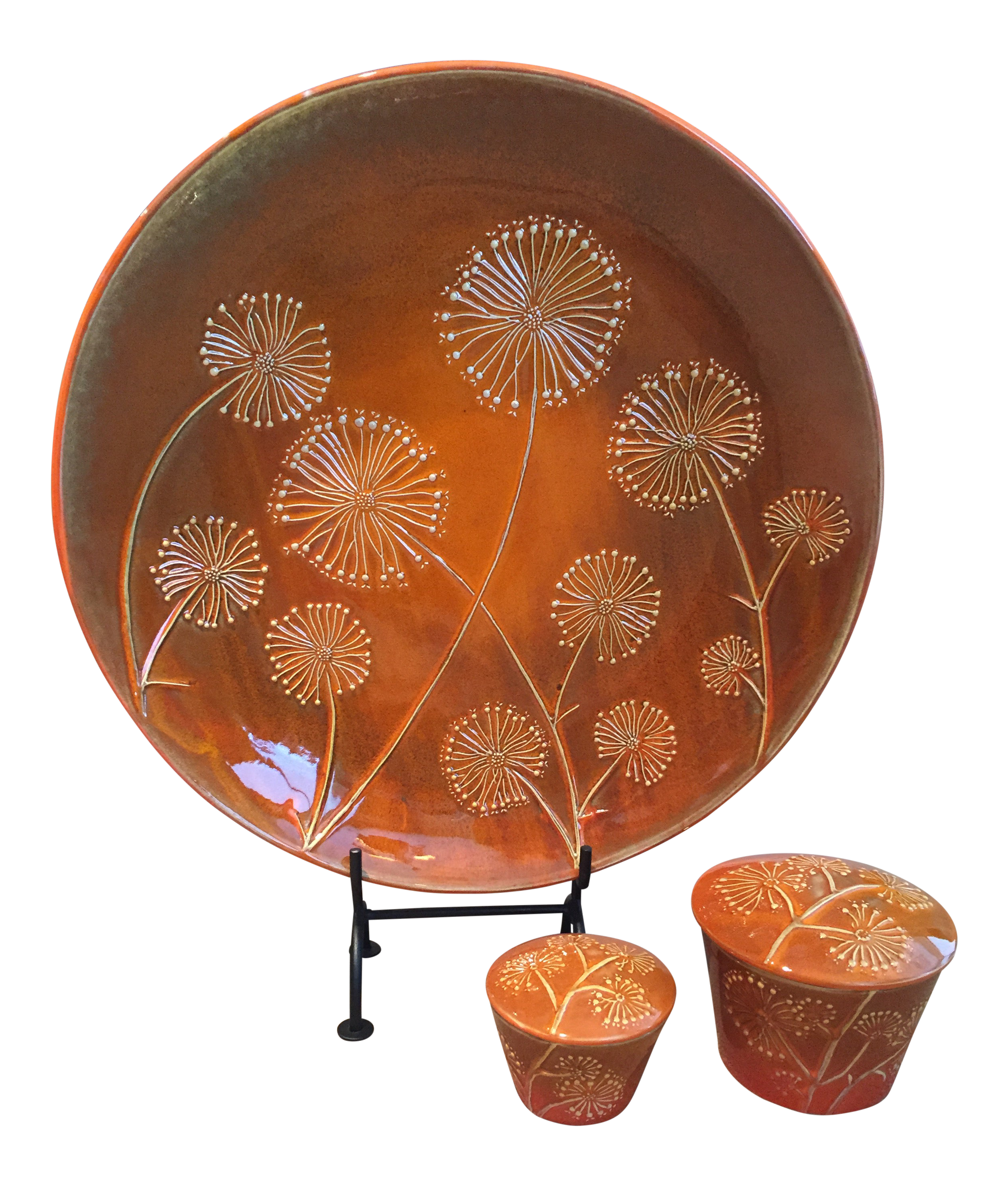 Global Views Orange Dandelion Platter and Containers With Lids   Set of 20
