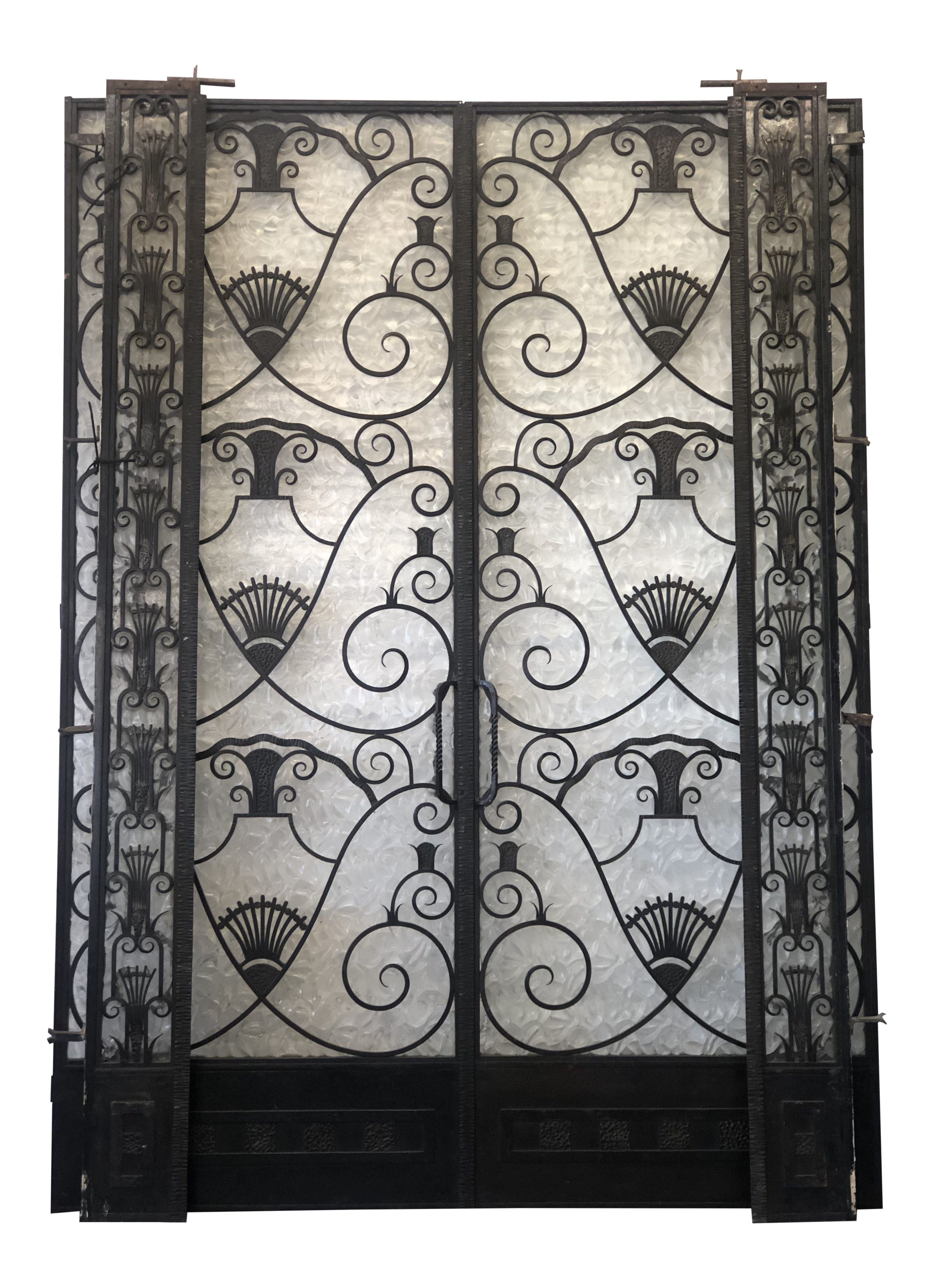 Chaise Style Art Nouveau 1920s metal french doors art deco nouveau style with iron and sidelights -  a pair