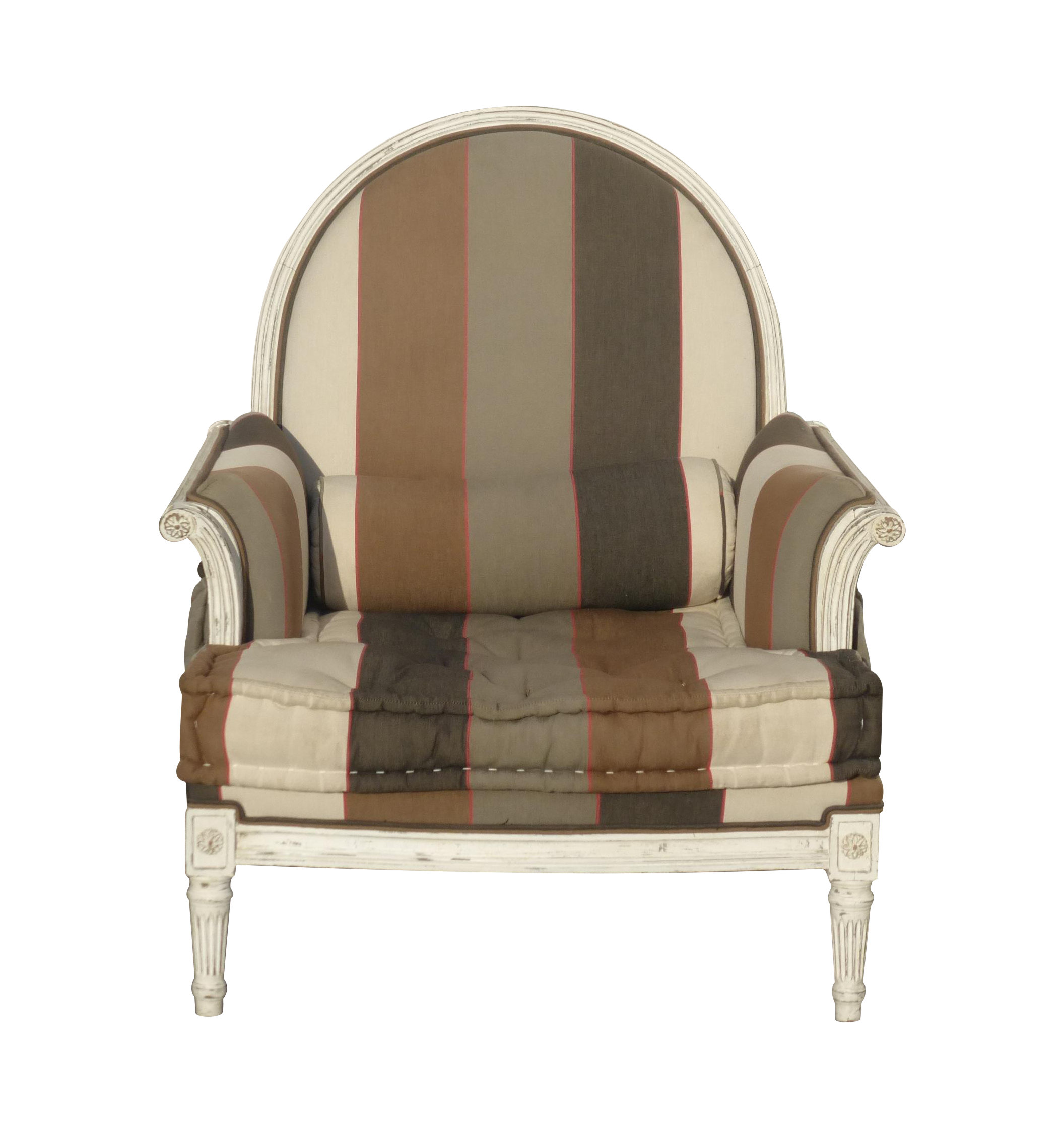 French Provincial Striped Upholstery Arm Chair Chairish