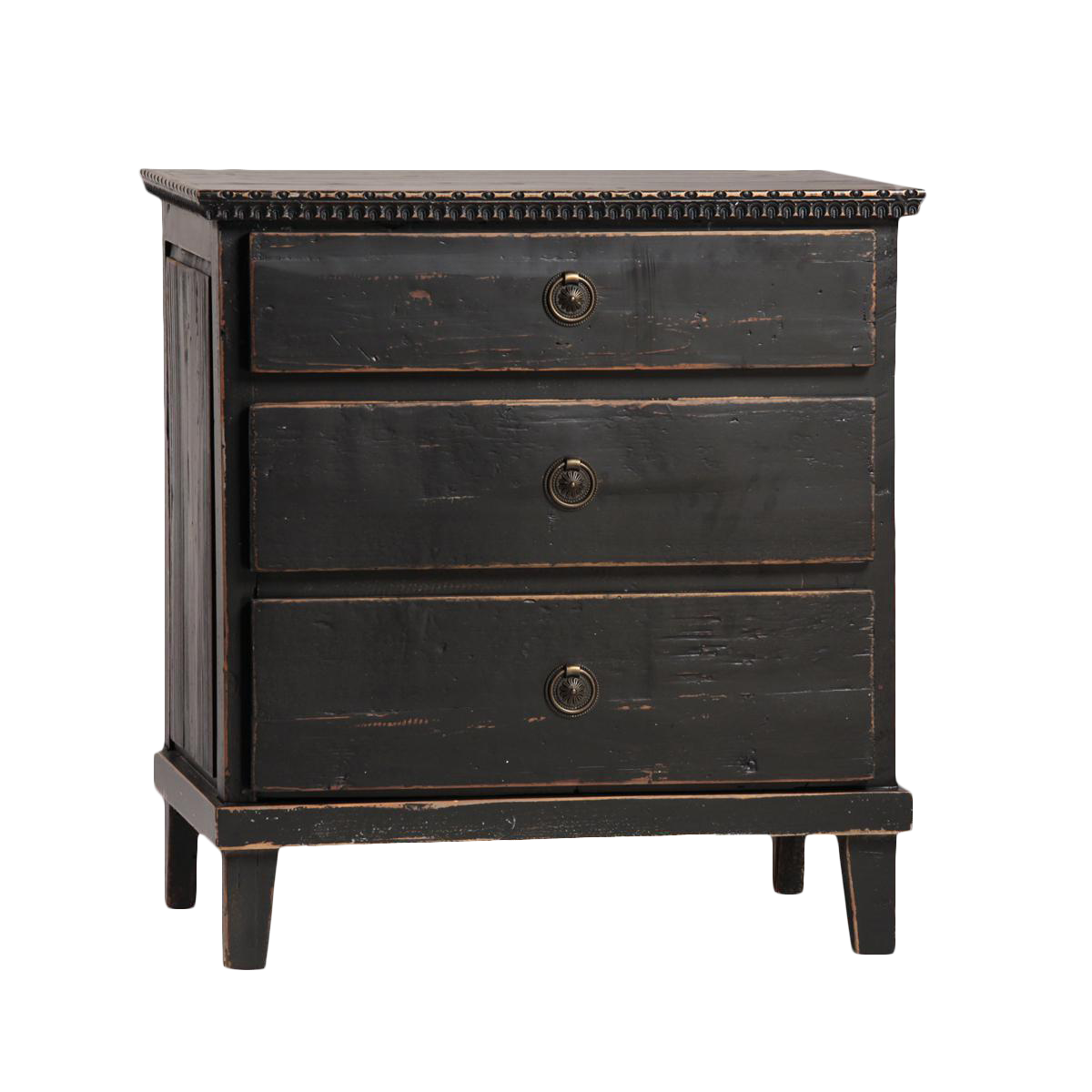 Black distressed 3 drawer nightstand chairish