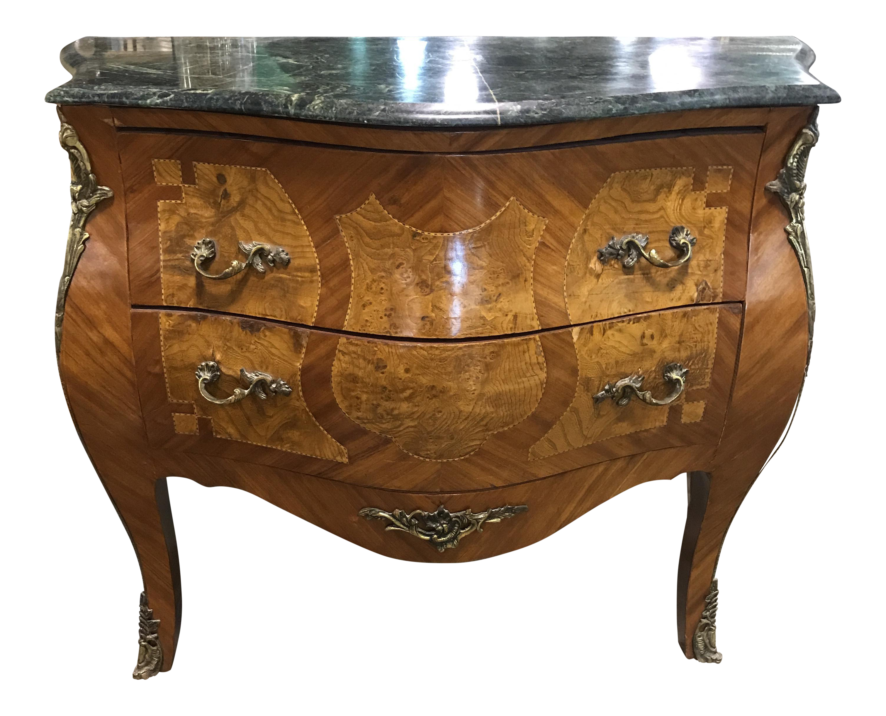 Vintage E Chest With Burl And Br