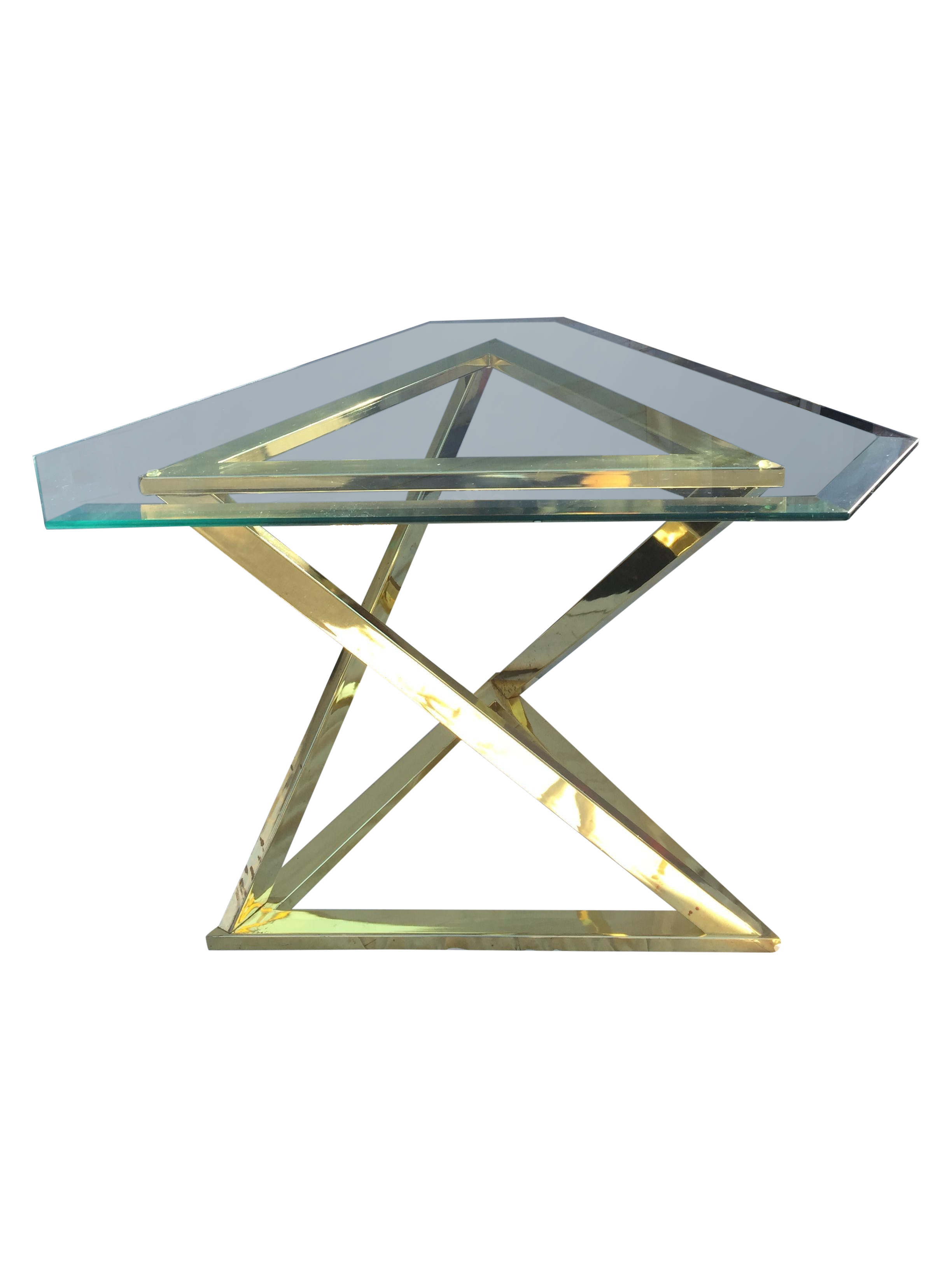 Sculptural Brass Triangle Side Table Chairish - Triangle picnic table