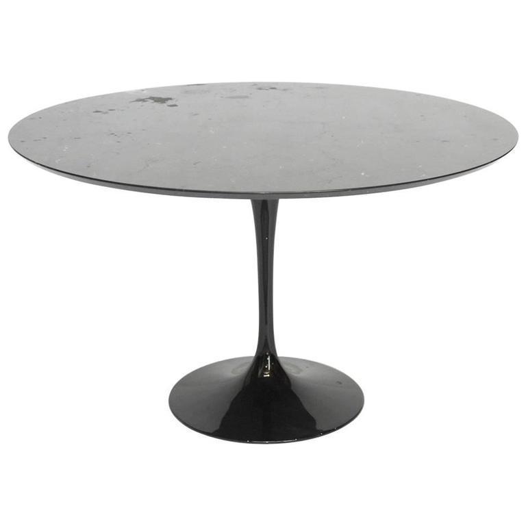 Eero Saarinen Style Black Marble Tulip Dining Table Chairish - Black marble tulip dining table