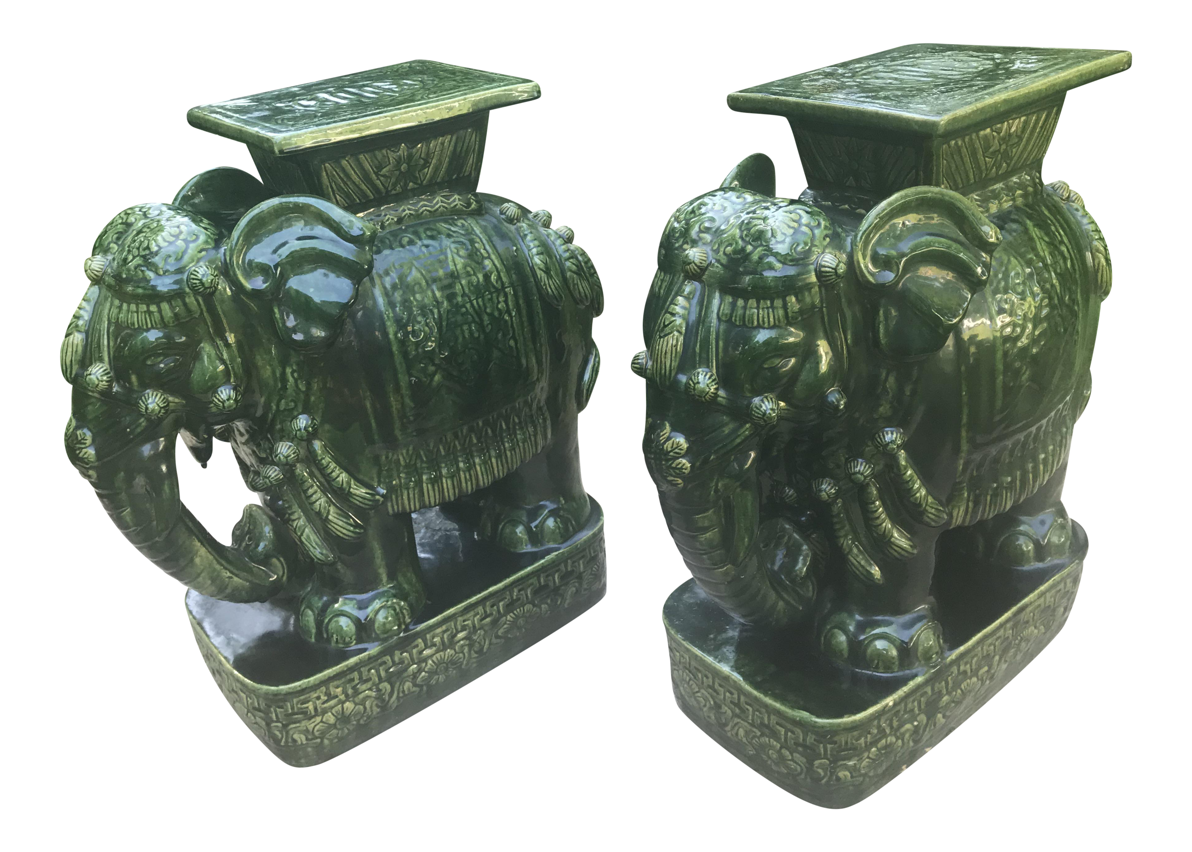 Vintage Green Glazed Elephant Garden Stools/Seats a Pair | Chairish