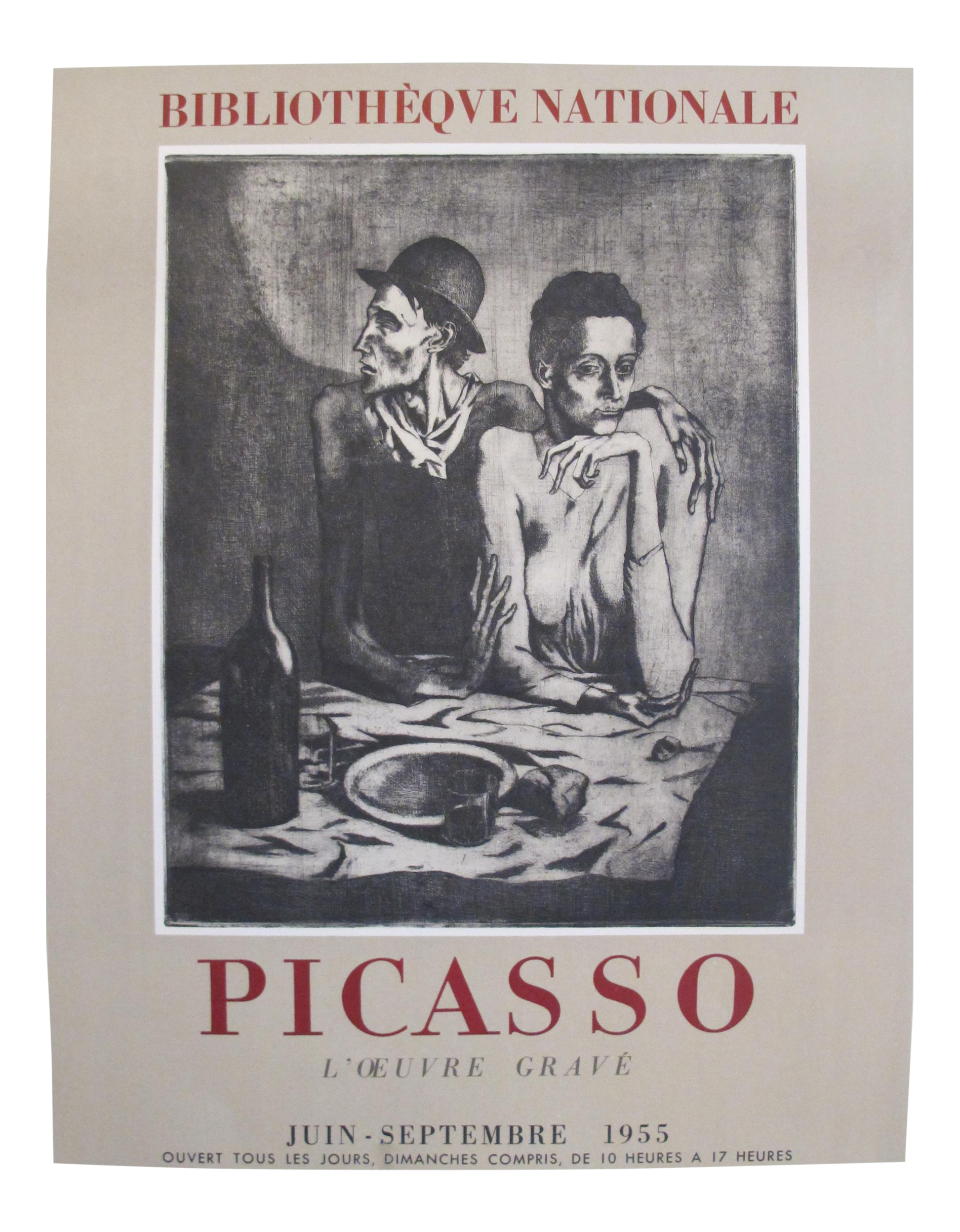 1955 Vintage French Picasso Exhibition Poster Chairish