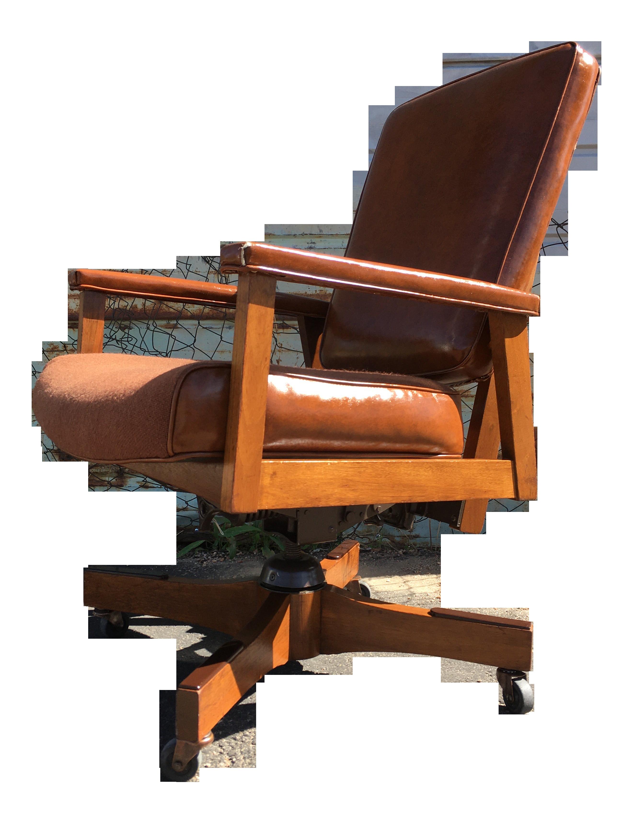 Gunlocke Style Mid Century Modern Walnut Executive Office Chair Chairish